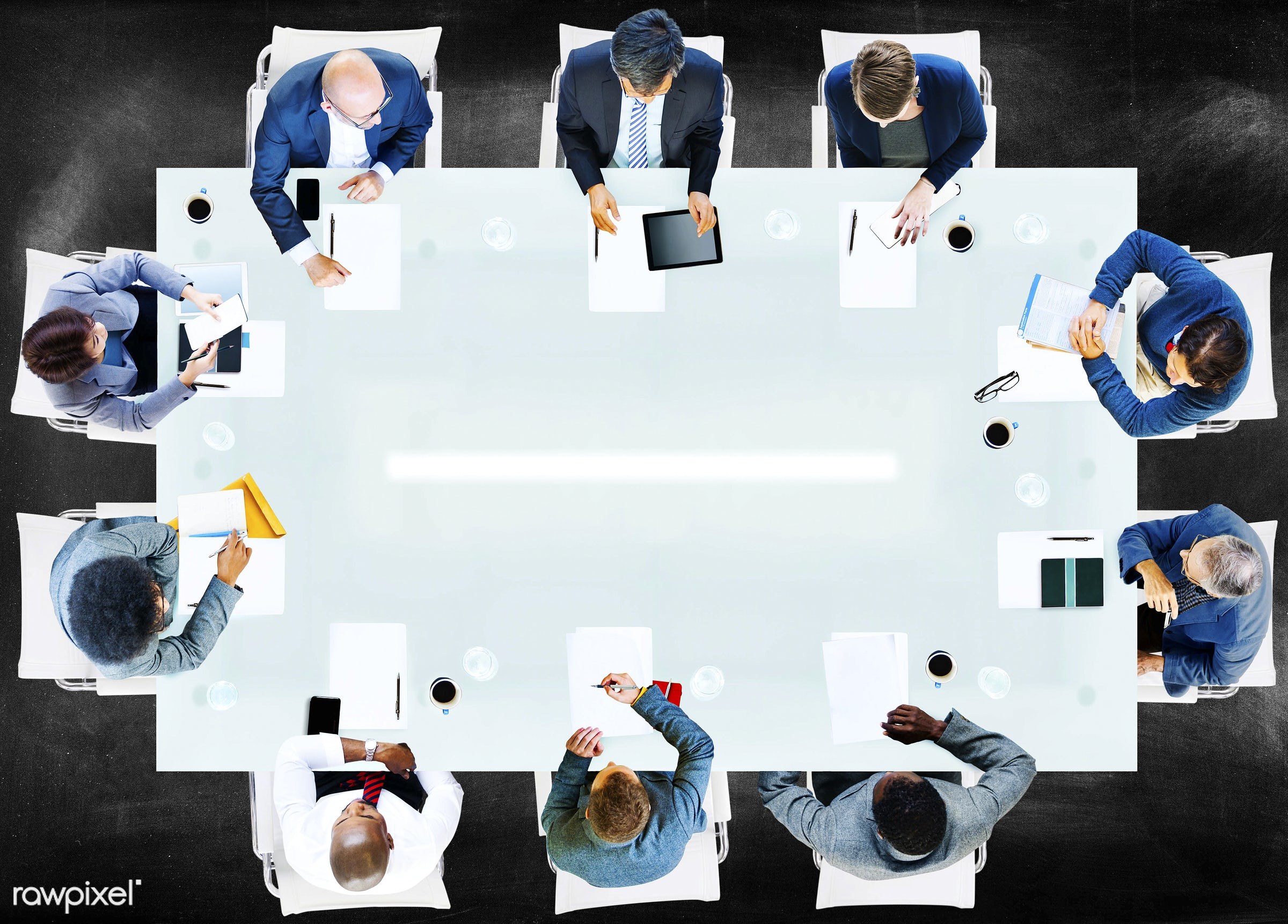 aerial view, african, african descent, analysis, asian, asian ethnicity, blackboard, blank, business, business people,...