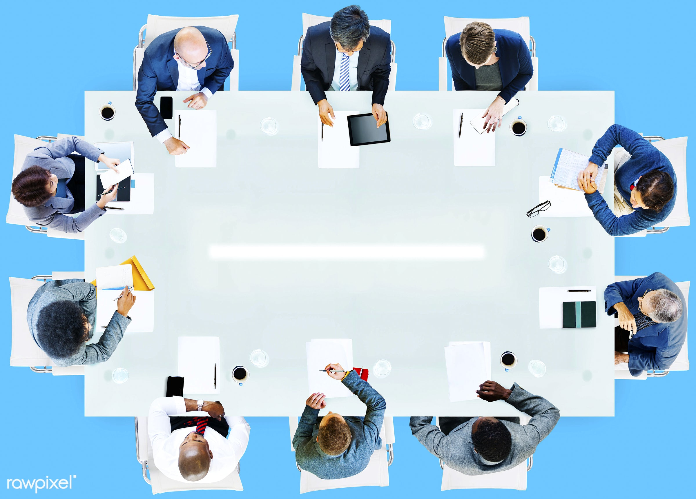 aerial view, african, african descent, analysis, asian, asian ethnicity, blank, blue, business, business people, businessmen...