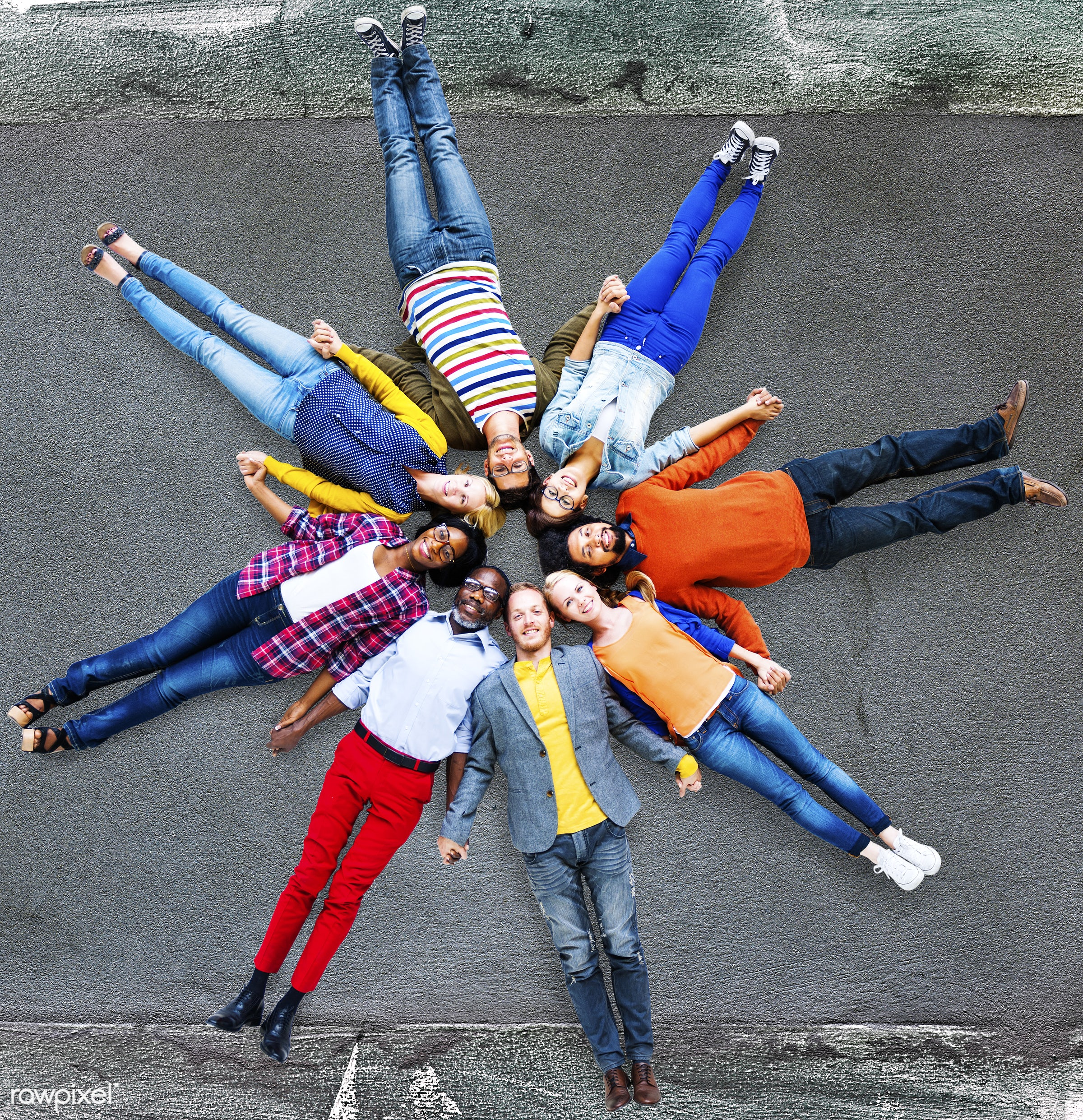 aerial view, african, african descent, arts, asian, asian ethnicity, blank, cheerful, colorful, community, concrete,...