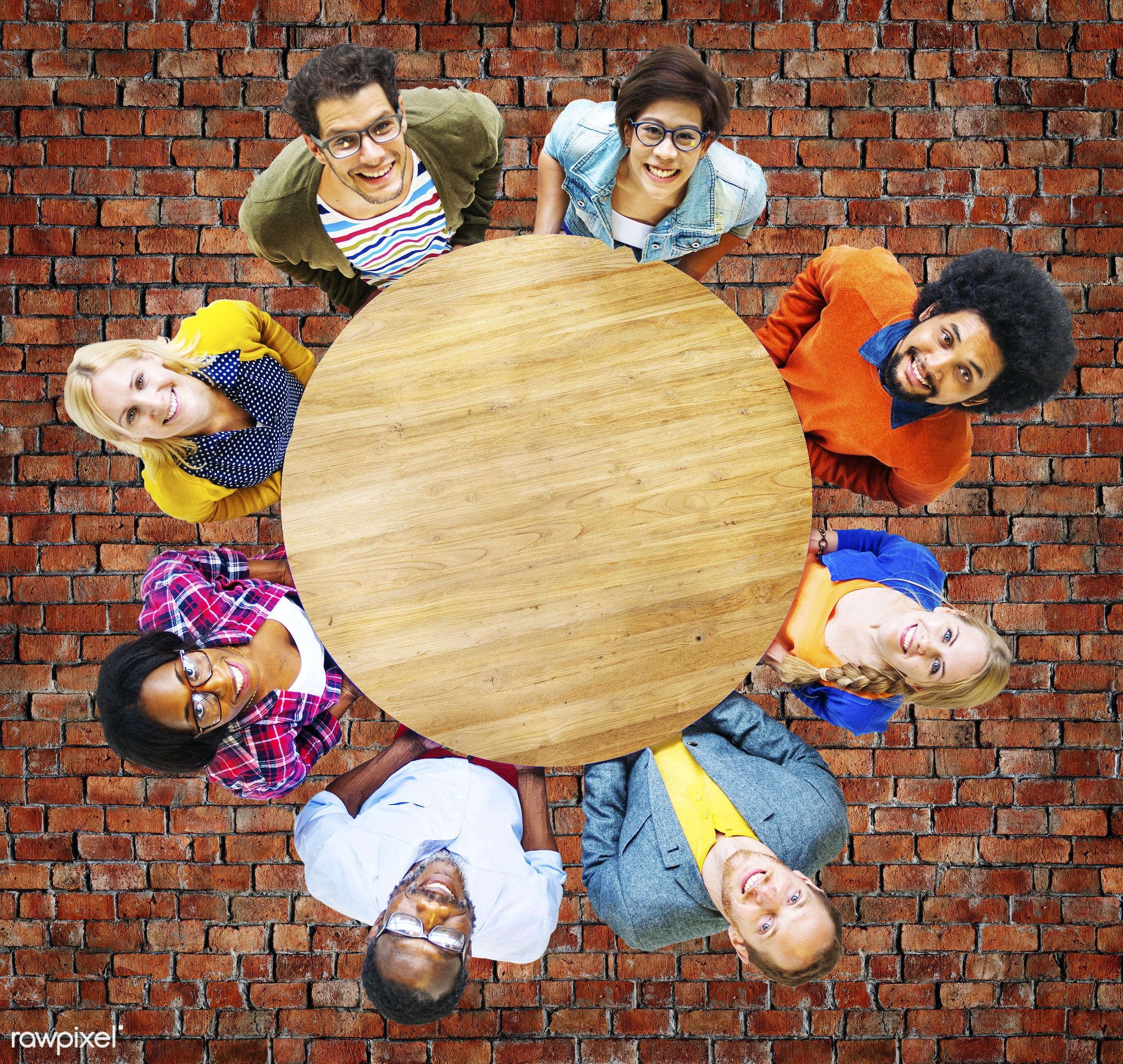 Carrying, african, african descent, asian, asian ethnicity, blank, brick floor, bricks, brickwork, casual, cheerful, copy...