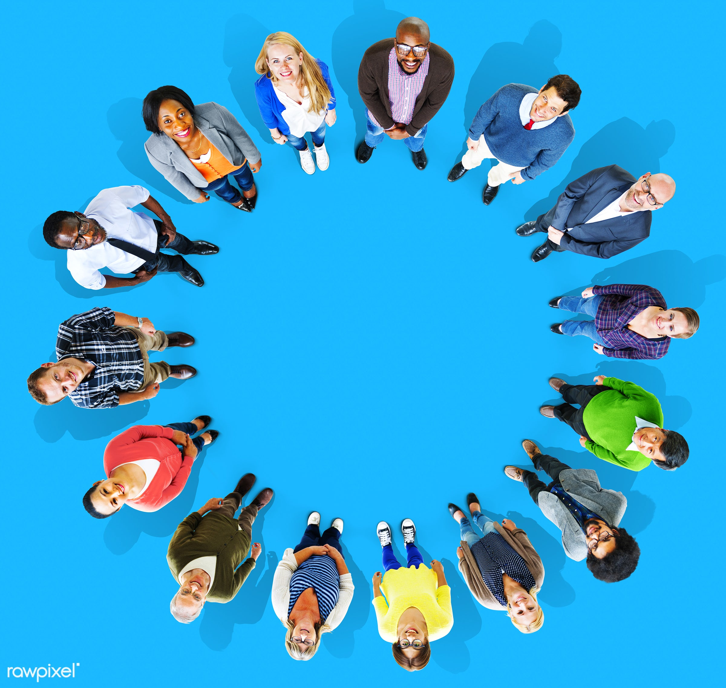 aerial view, african, african descent, asian, asian ethnicity, backdrop, background, blue, business, circle, colorful,...