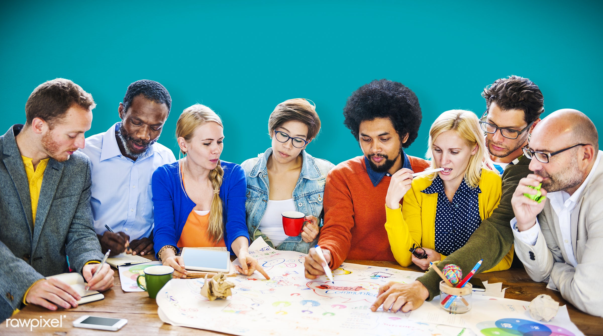 african descent, asian ethnicity, backdrop, background, brainstorming, casual, colourful, communication, community,...