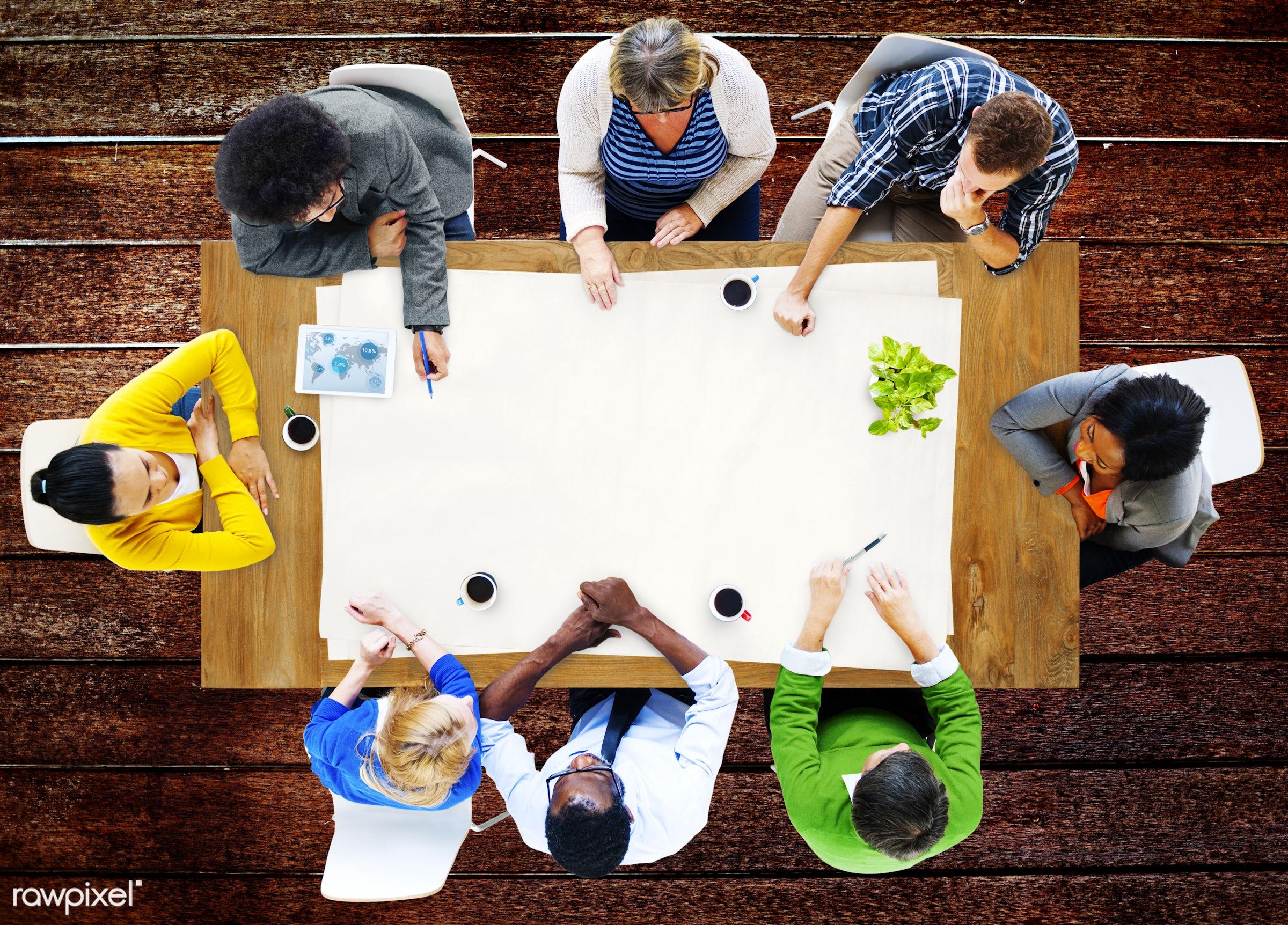 aerial view, brainstorming, business, business people, casual, communication, concrete floor, diversity, ethnicity, floor,...