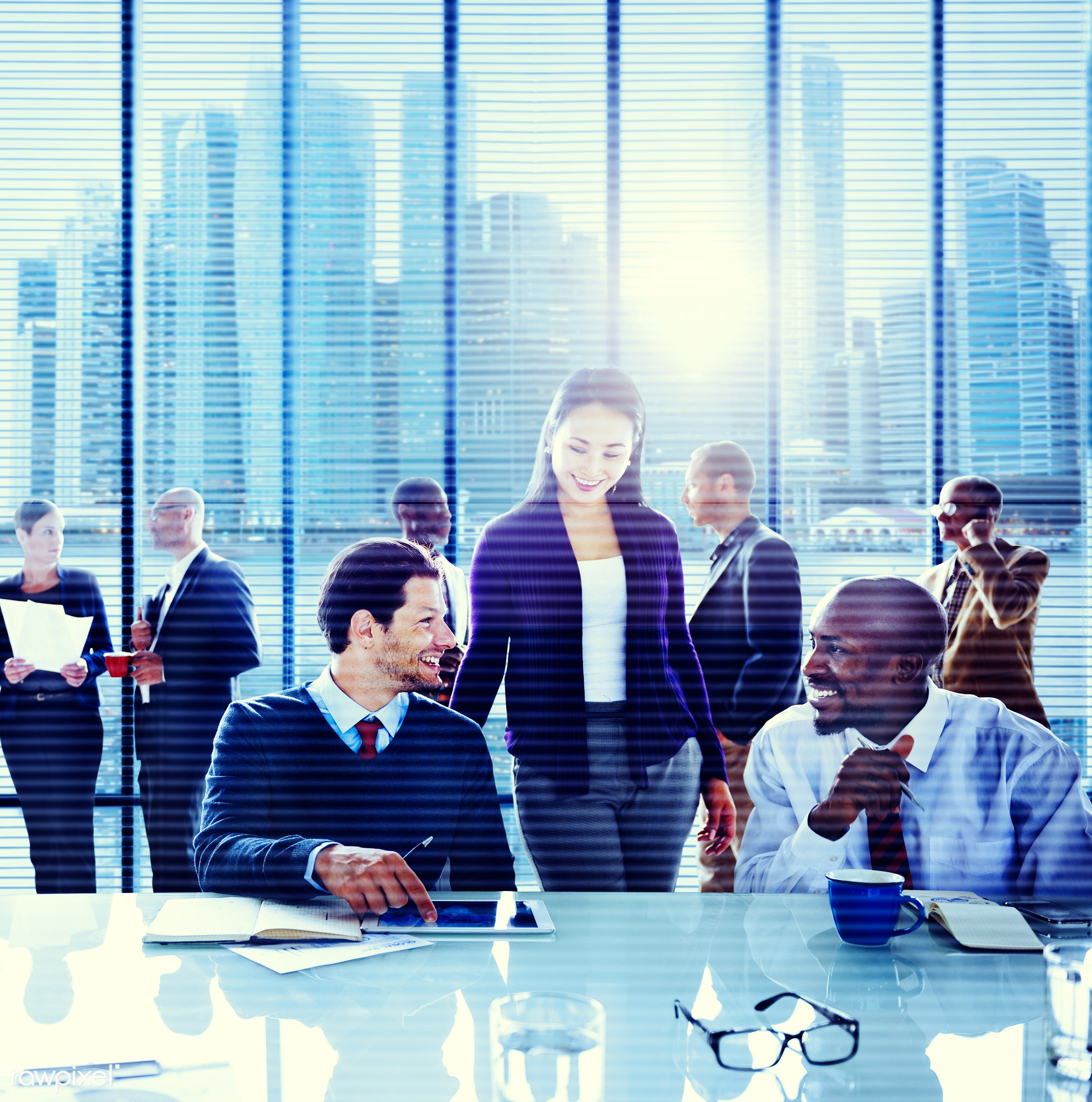 contemporary, african descent, asian ethnicity, brainstorming, business, business people, businessman, businesswoman,...