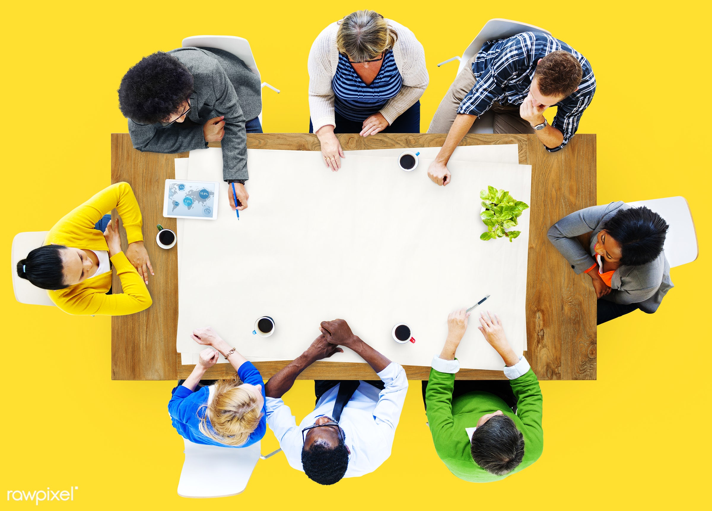 aerial view, brainstorming, business, business people, casual, communication, concrete floor, diversity, ethnicity, group of...