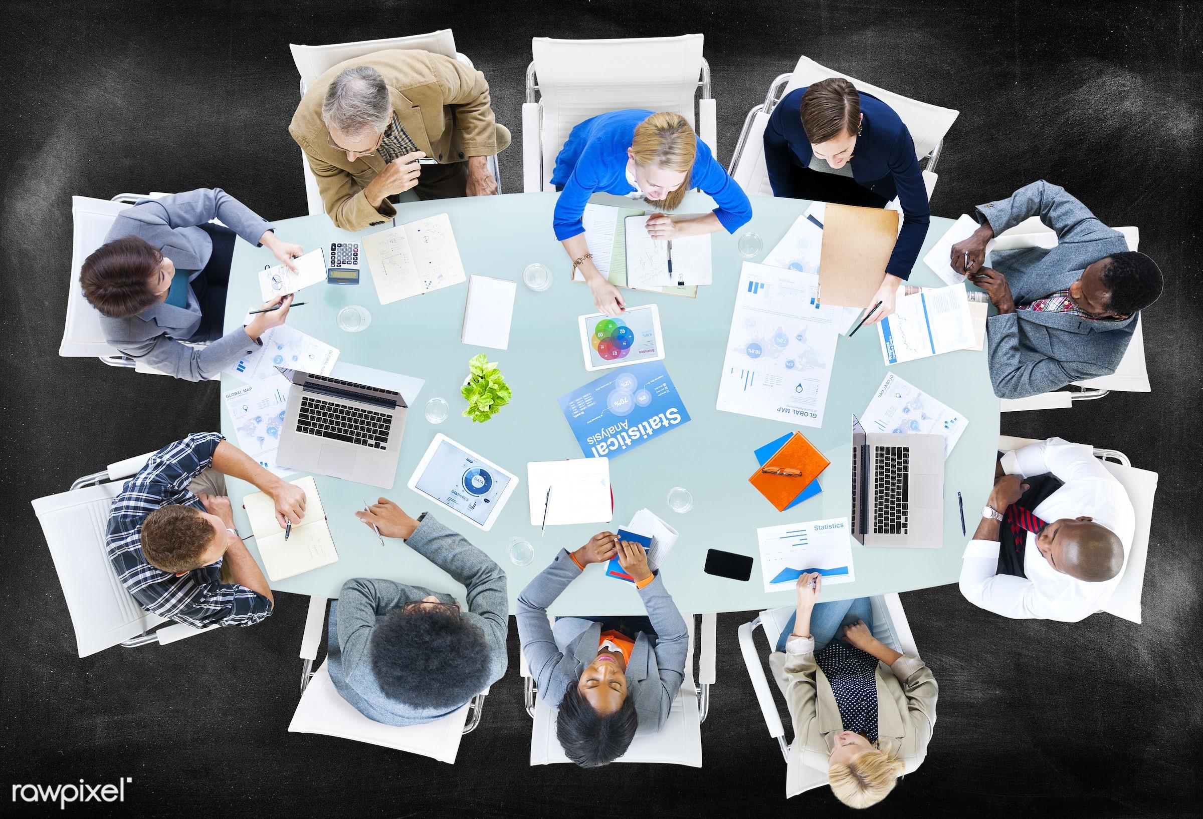 aerial view, blackboard, board, brainstorming, business, business people, businessmen, businesswomen, casual, communication...
