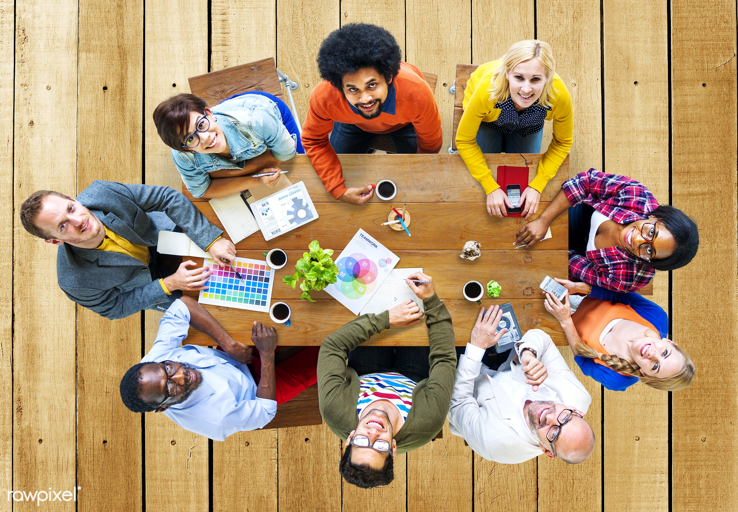 contemporary, aerial view, african descent, asian ethnicity, backgrounds, brainstorming, business, business people, color...
