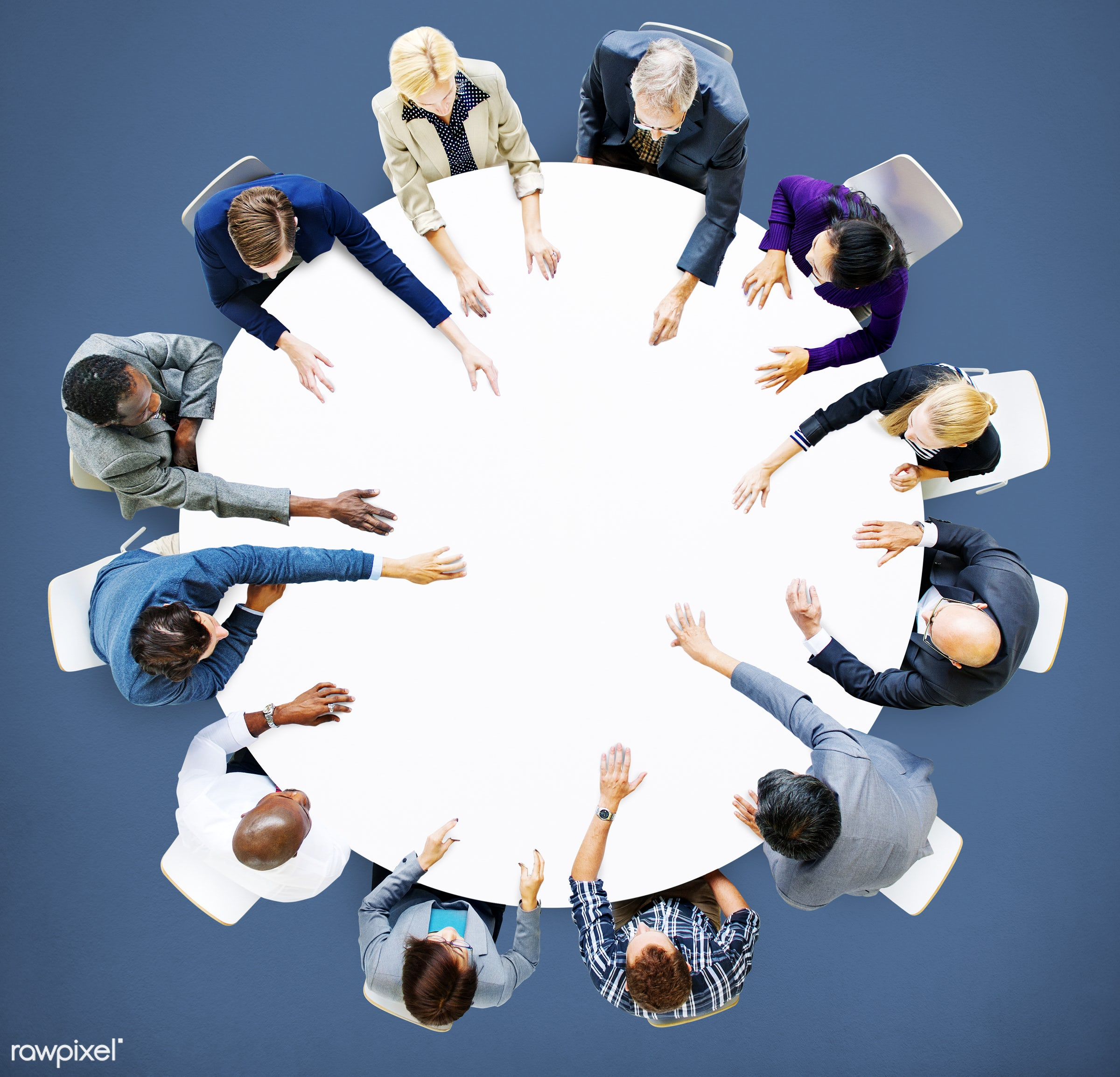 aerial view, african descent, analysing, asian ethnicity, background, blank, blue background, brainstorming, business,...