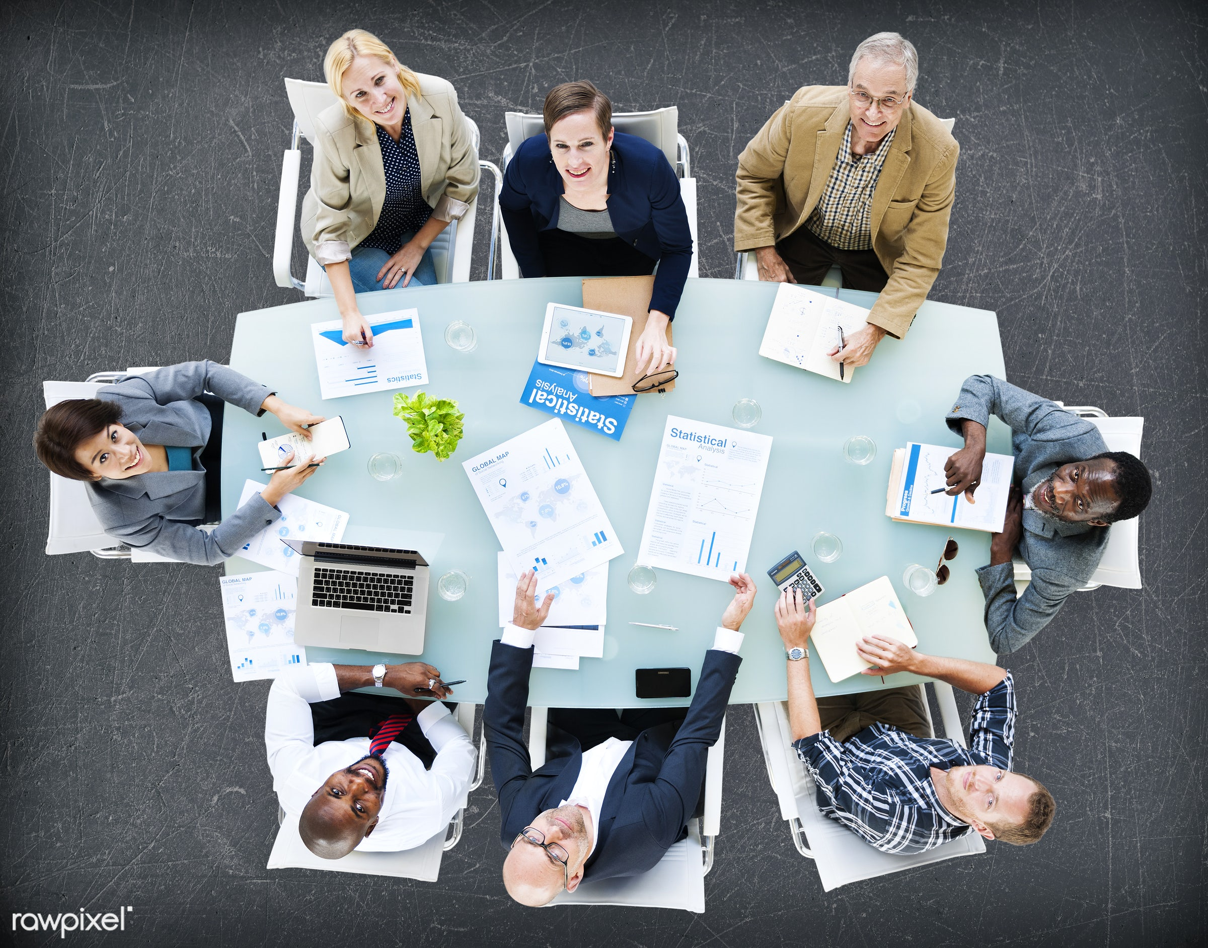 contemporary, aerial view, african descent, analysis, asian ethnicity, board meeting, board room, business, business people...