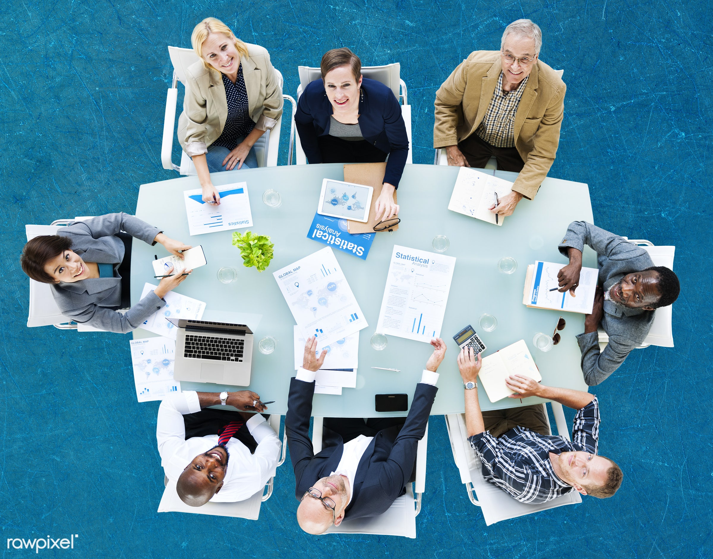 aerial view, african descent, analysis, asian ethnicity, blue, board meeting, board room, business, business people,...