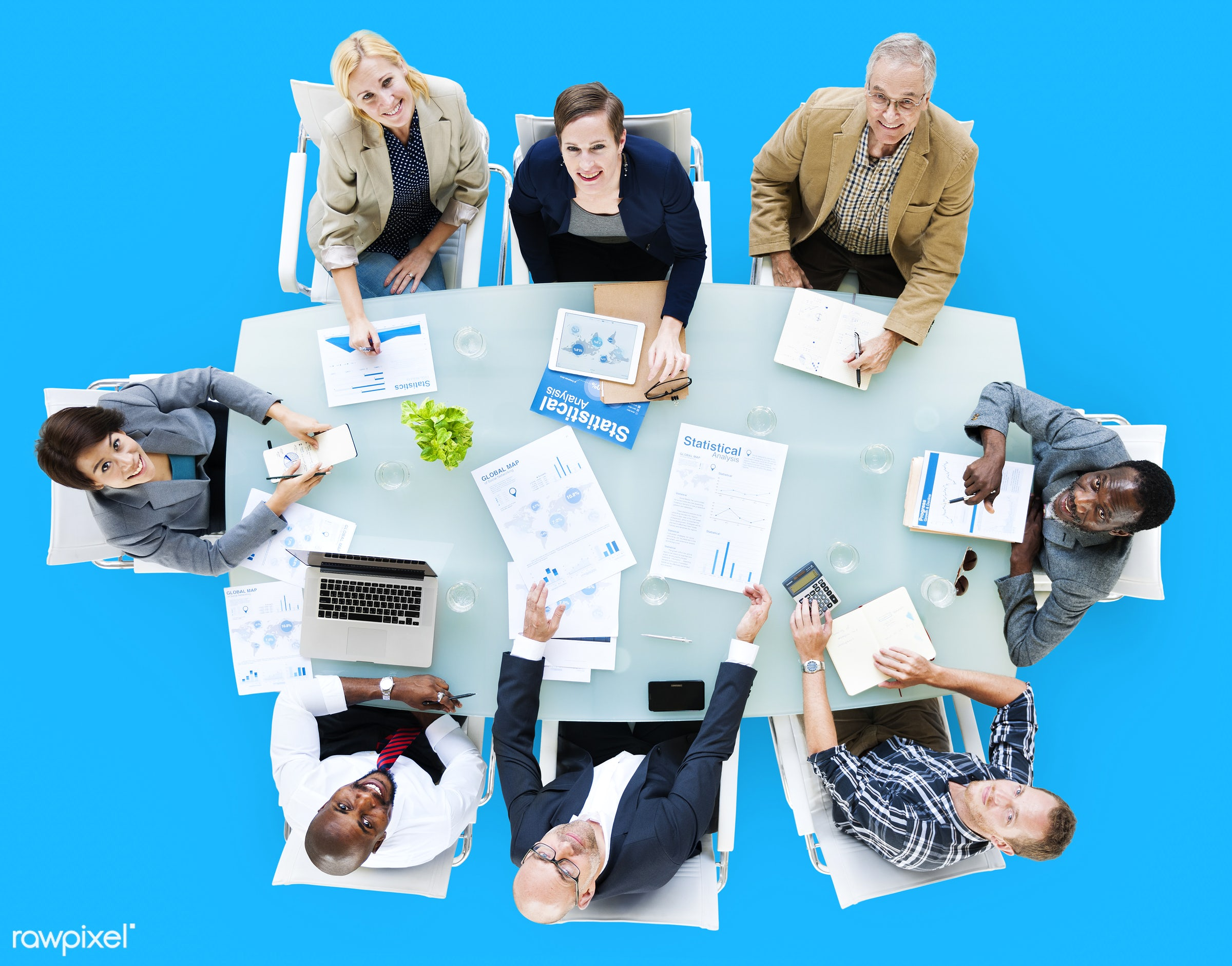 aerial view, african descent, analysis, asian ethnicity, background, blue background, board meeting, board room, business,...