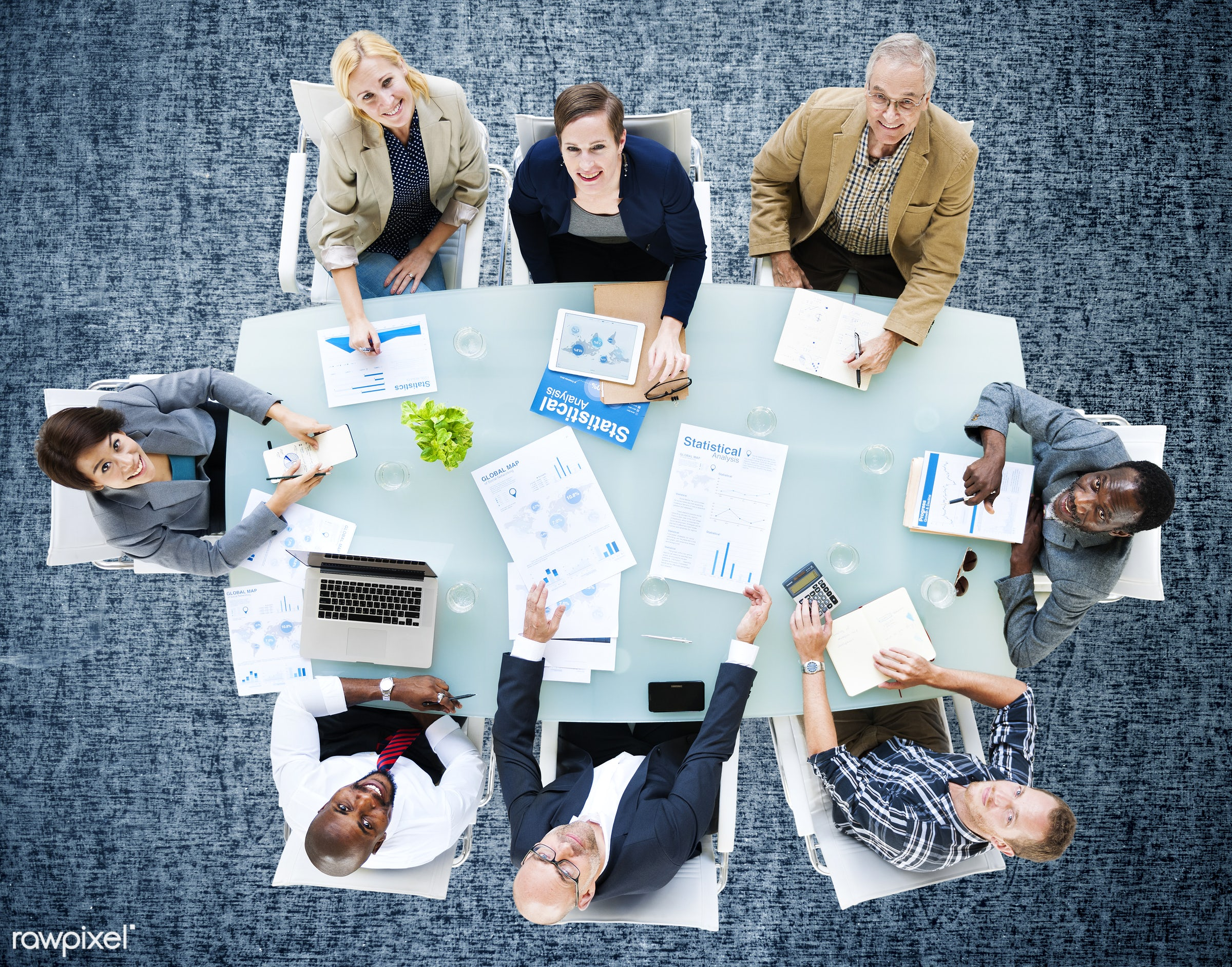aerial view, african descent, analysis, asian ethnicity, board meeting, board room, business, business people, businessman,...