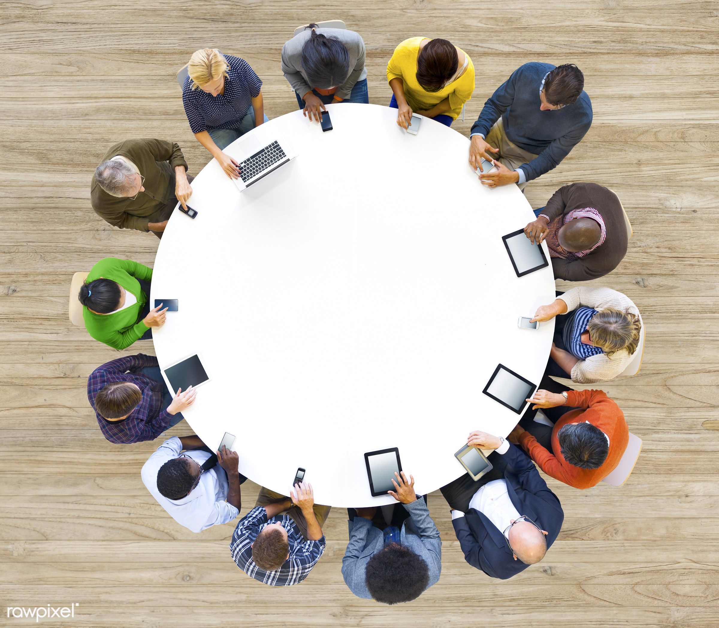 aerial view, circle, colleague, color, colorful, communication, community, computer, copy space, device, digital, digital...