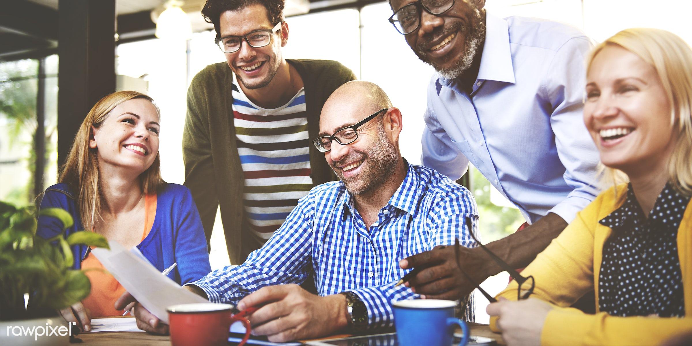 People Meeting Communication Corporate Teamwork Concept - beverage, bonding, cafe, caucasian, cheerful, coffee, community,...