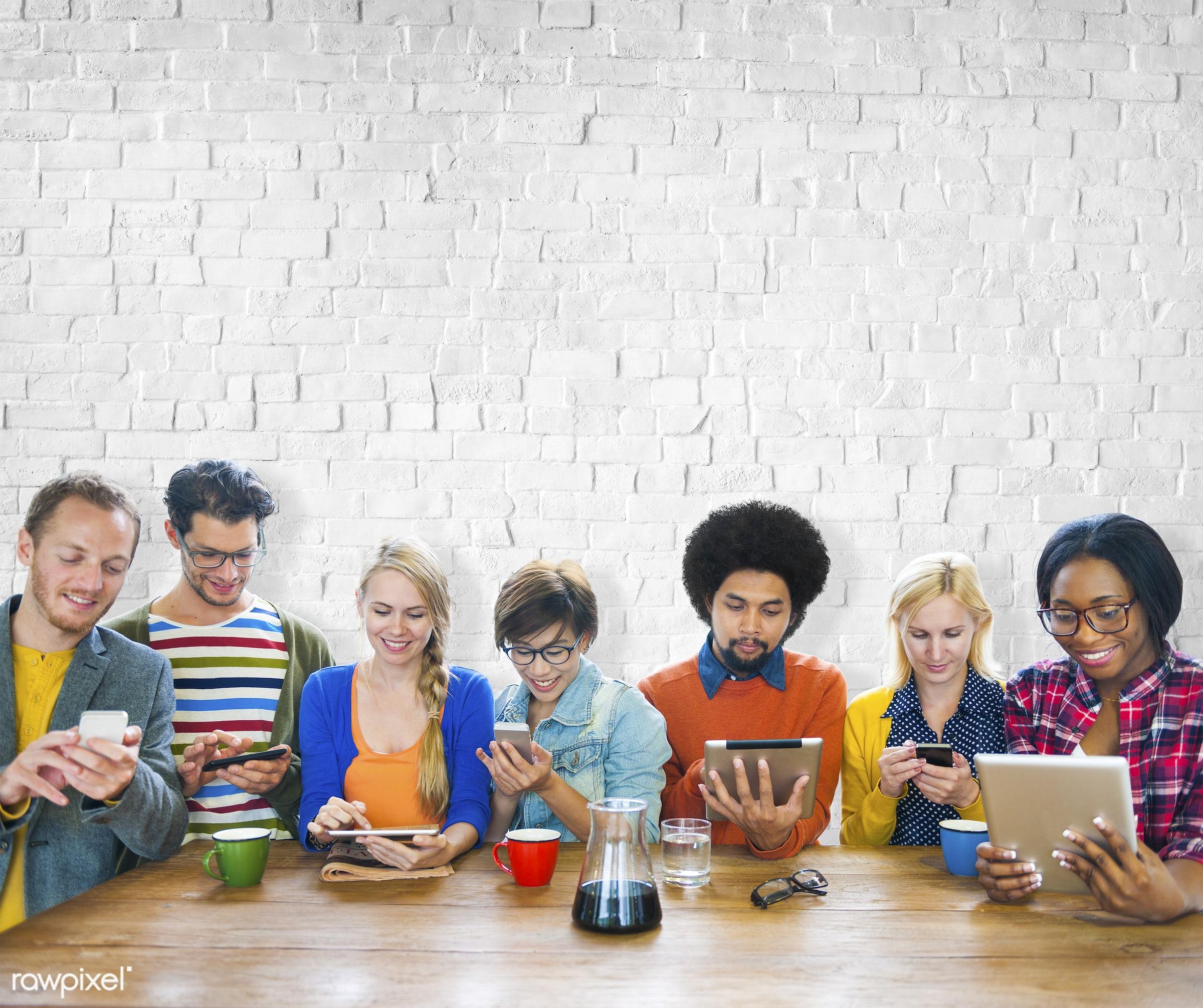 african, african descent, asian, asian ethnicity, brainstorming, brick, brick wall, business, businessman, businesswoman,...
