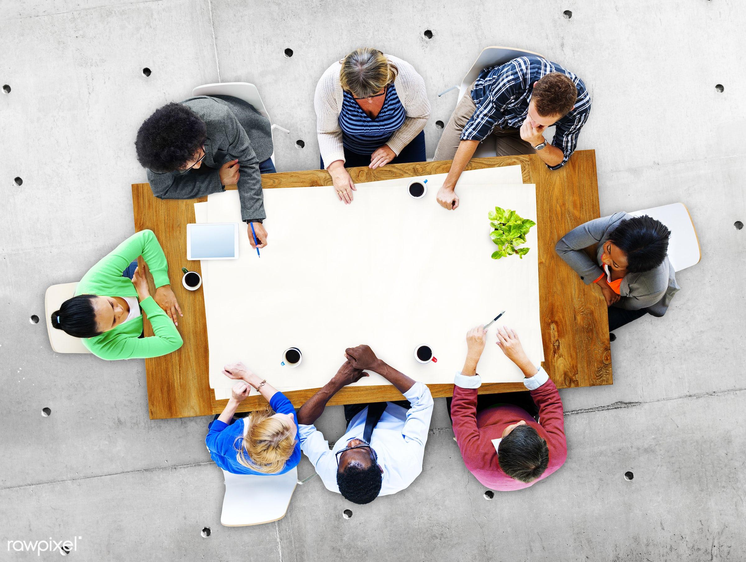 aerial view, brainstorming, business, casual, communication, concrete floor, conference, copy space, copyspace, diversity,...