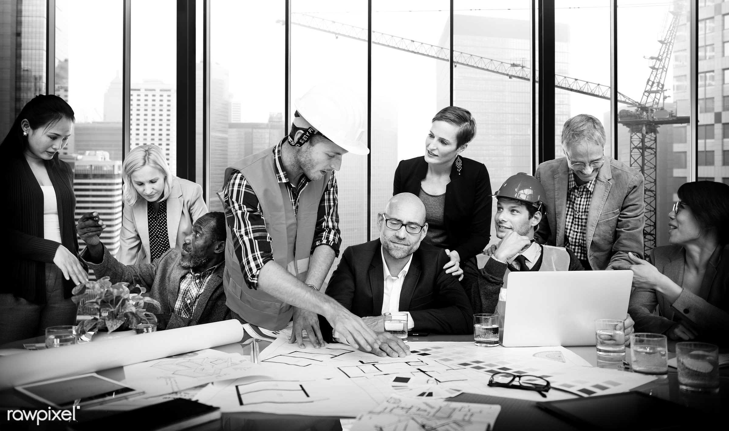 african descent, architect, asian ethnicity, blueprint, boardroom, brainstorming, business, business people, businessmen,...