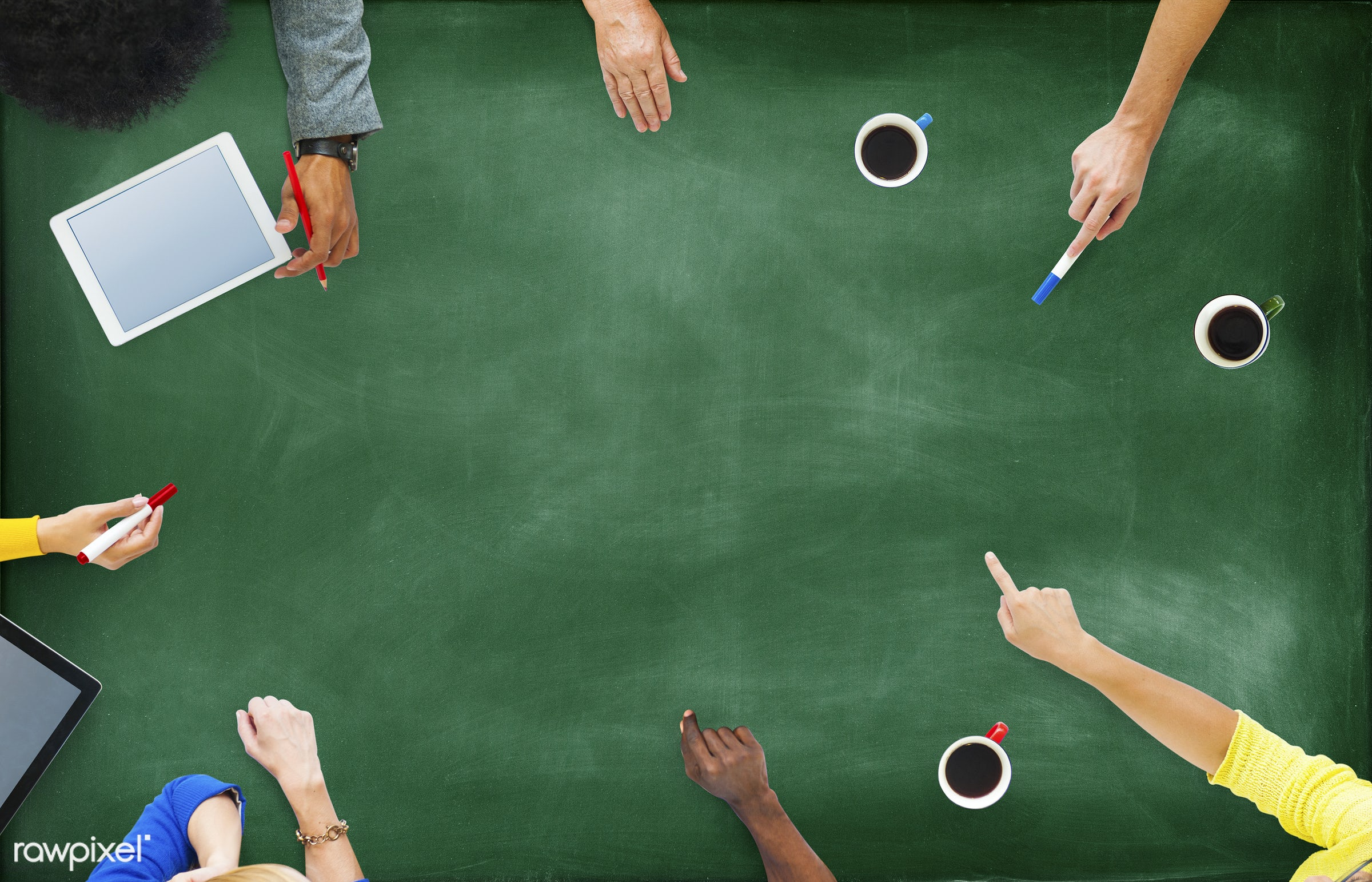 aerial view, african descent, asian ethnicity, blackboard, blank, brainstorming, business, business people, business person...