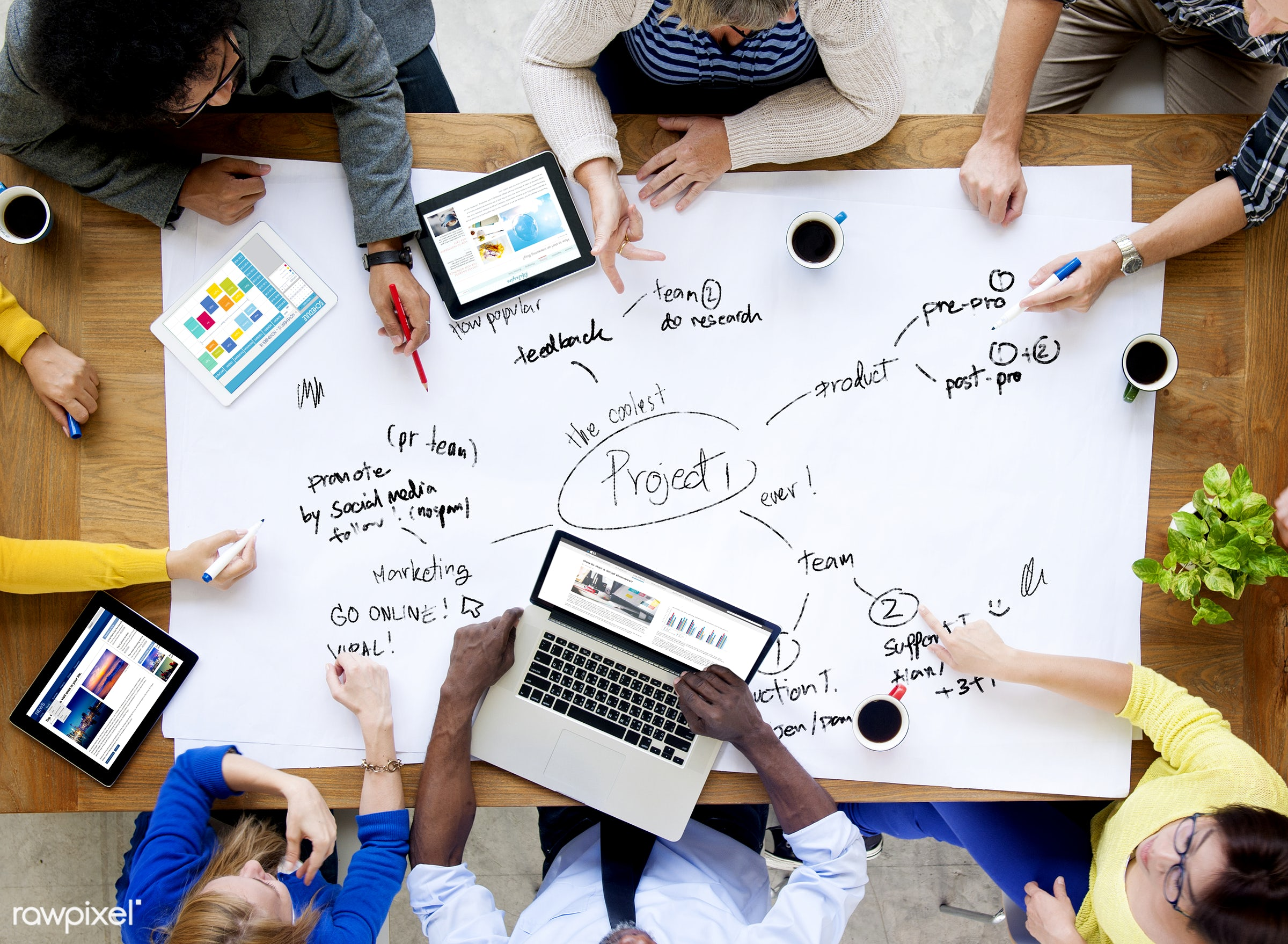 Group of diverse people having a business meeting - brainstorming, business, businessman, collaboration, colleagues,...