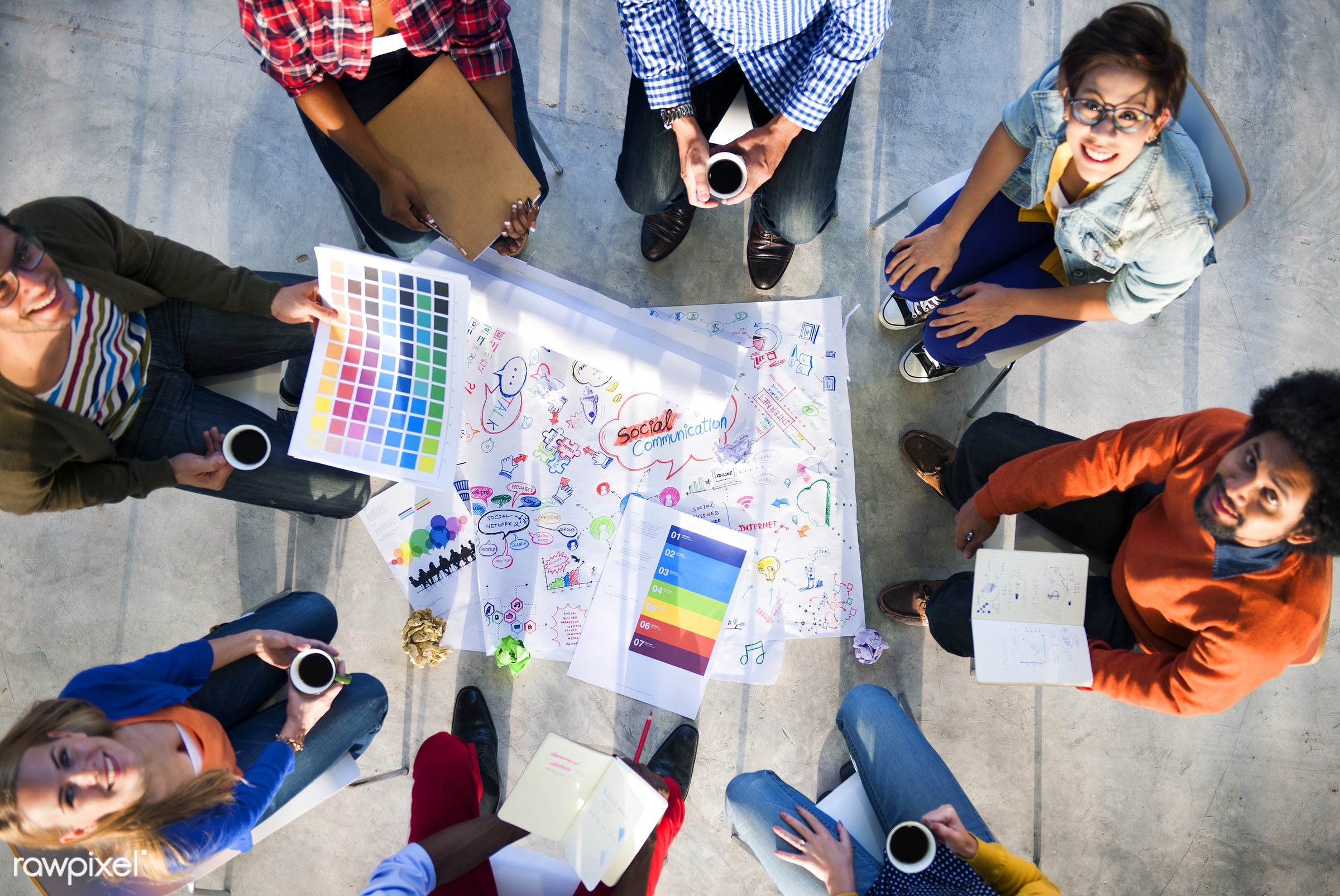 aerial view, asian ethnicity, brainstorming, cheerful, color swatch, communication, concrete, concrete floor, connection,...