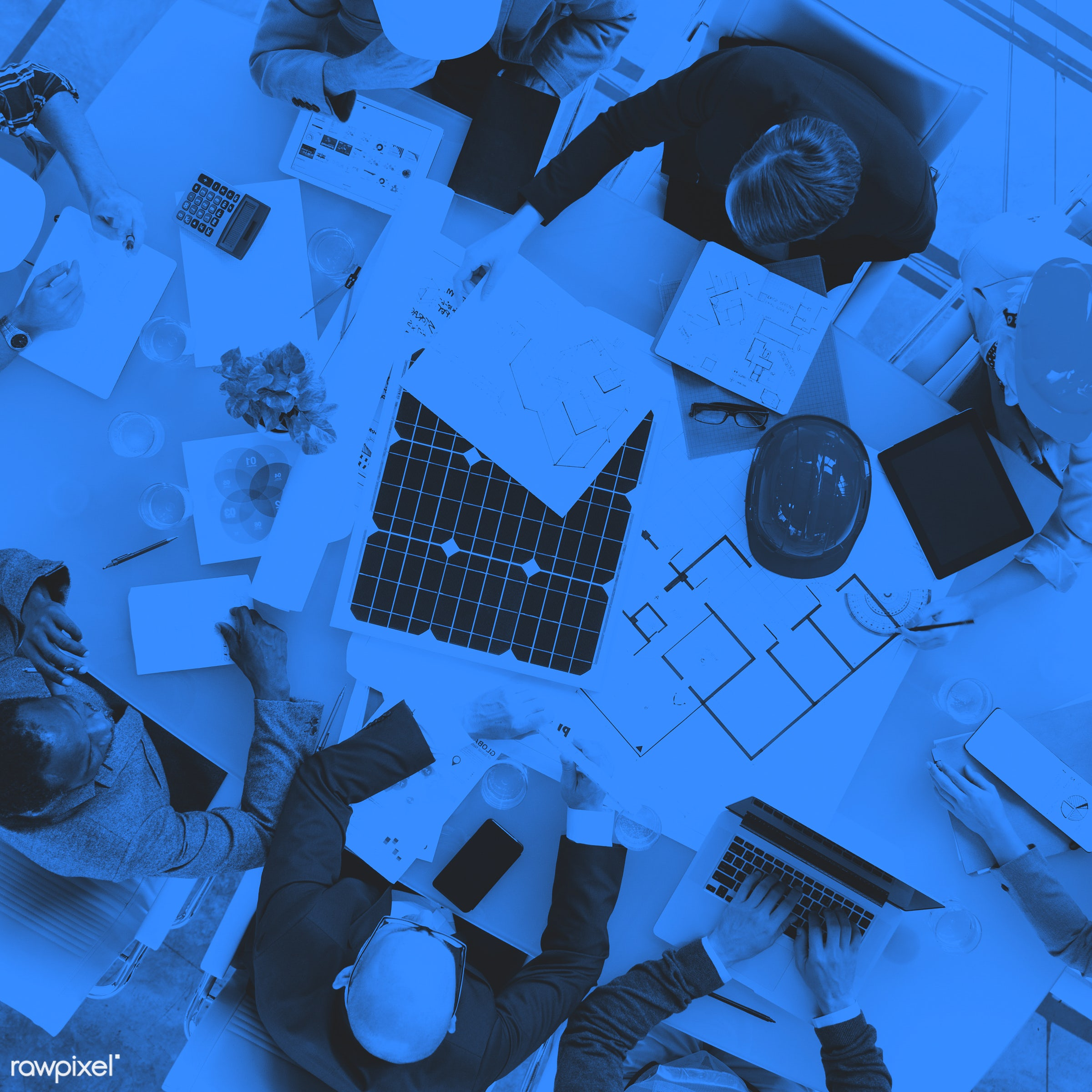 aerial view, african descent, architect, asian ethnicity, blue, blueprint, boardroom, brainstorming, business, business...