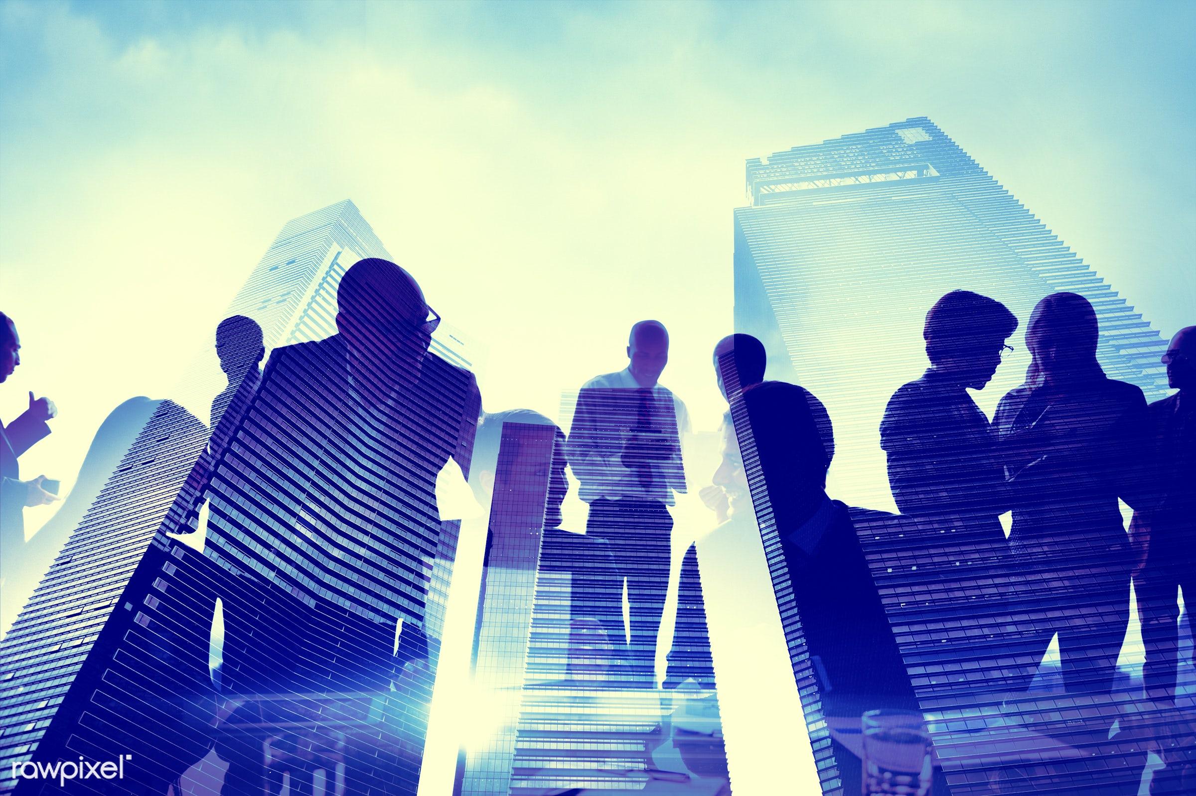 blue, brainstorm, buildings, business people, businessmen, businesswomen, cheerful, city, cityscape, colleagues,...