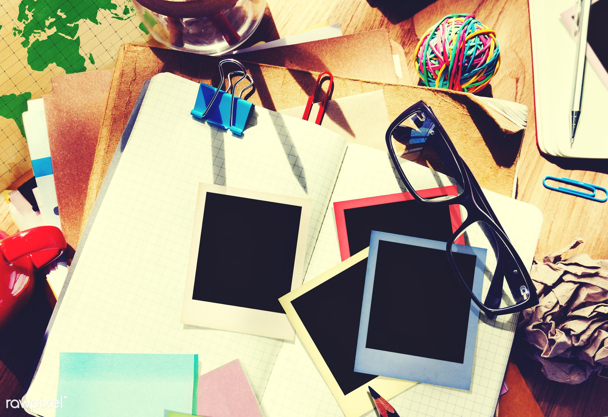 adhesive note, desk, diary, education, film, group of objects, information medium, instant camera, instant photo, messy,...