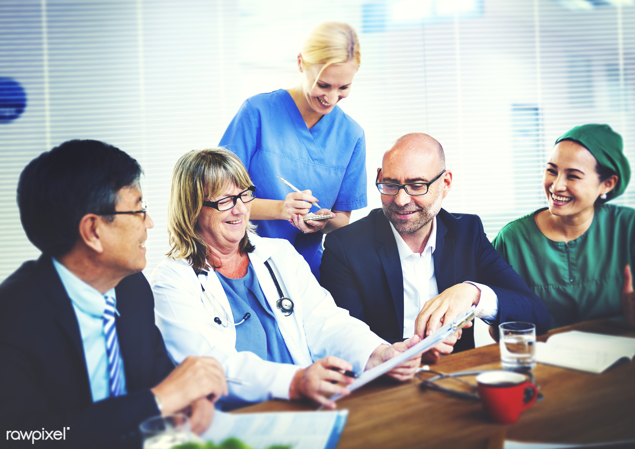 asian, caucasian, colleagues, diverse, doctor, group, healthcare, medical, nurses, people, team, teamwork, together,...