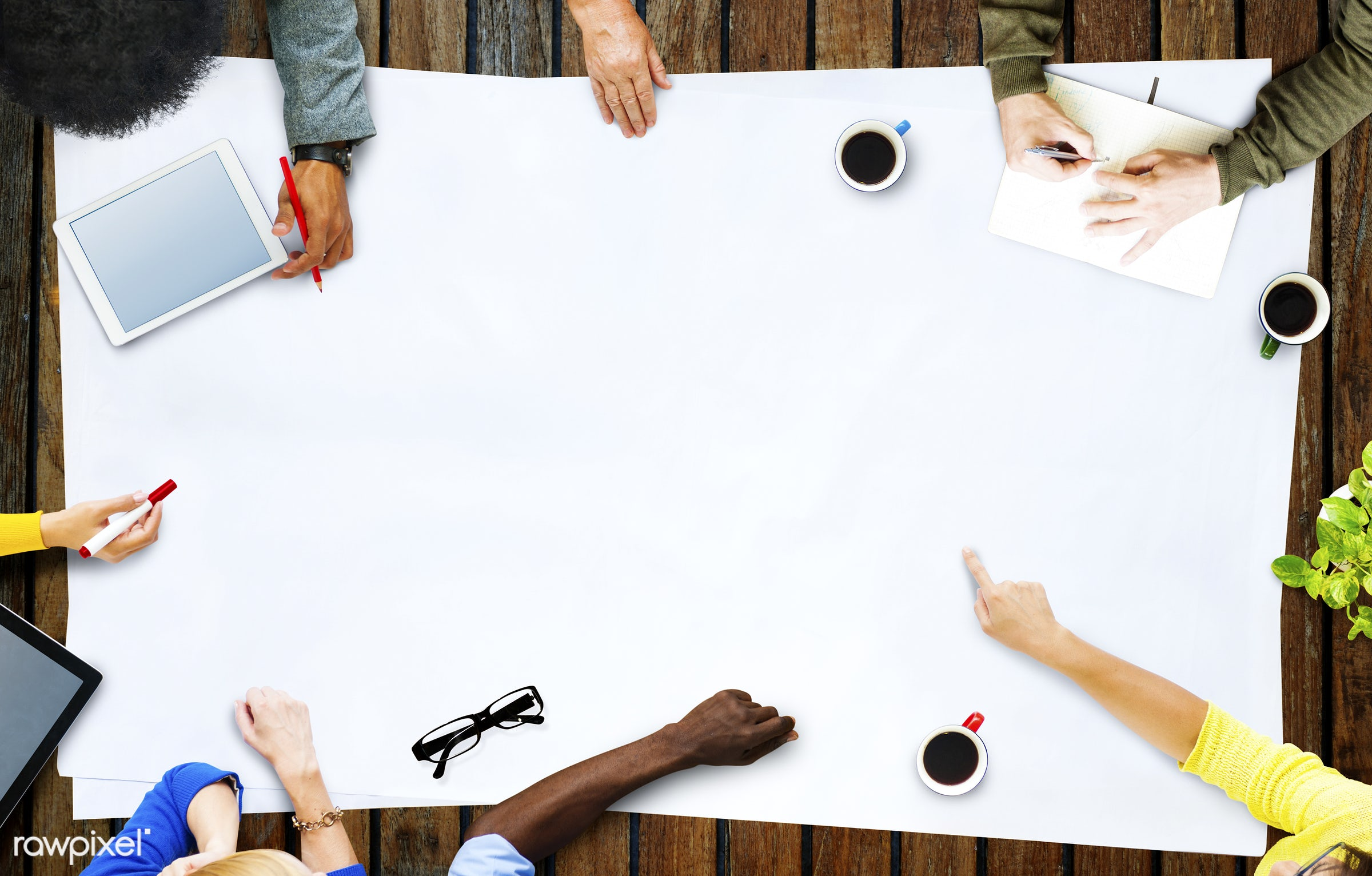 aerial view, african descent, asian ethnicity, brainstorming, business, business people, businessmen, businesswomen, copy...