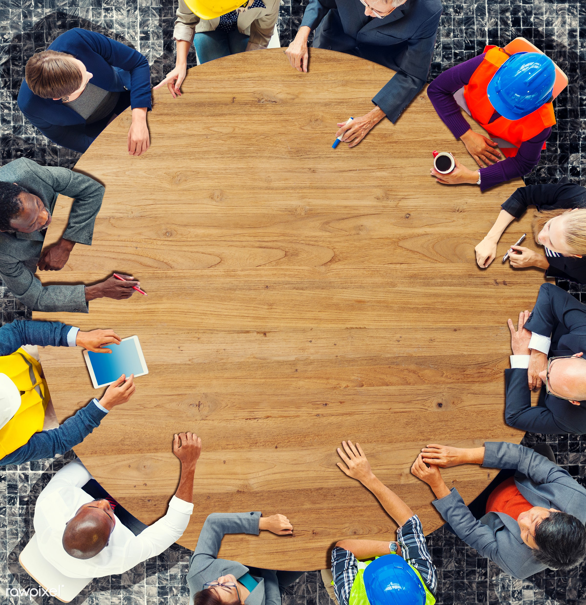 aerial view, african descent, architect, asian ethnicity, board room, brainstorming, business, business people, businessman...