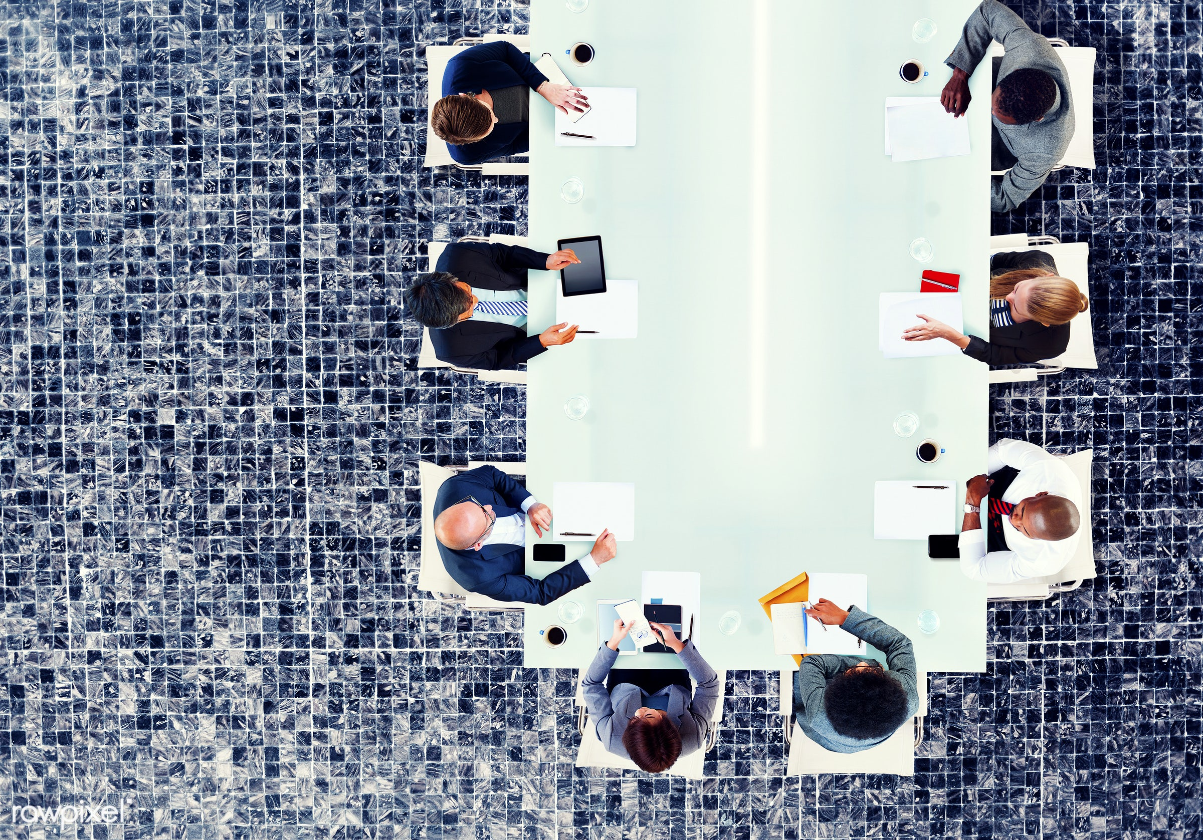 aerial view, african descent, asian ethnicity, board meeting, board room, business, business people, businessman,...
