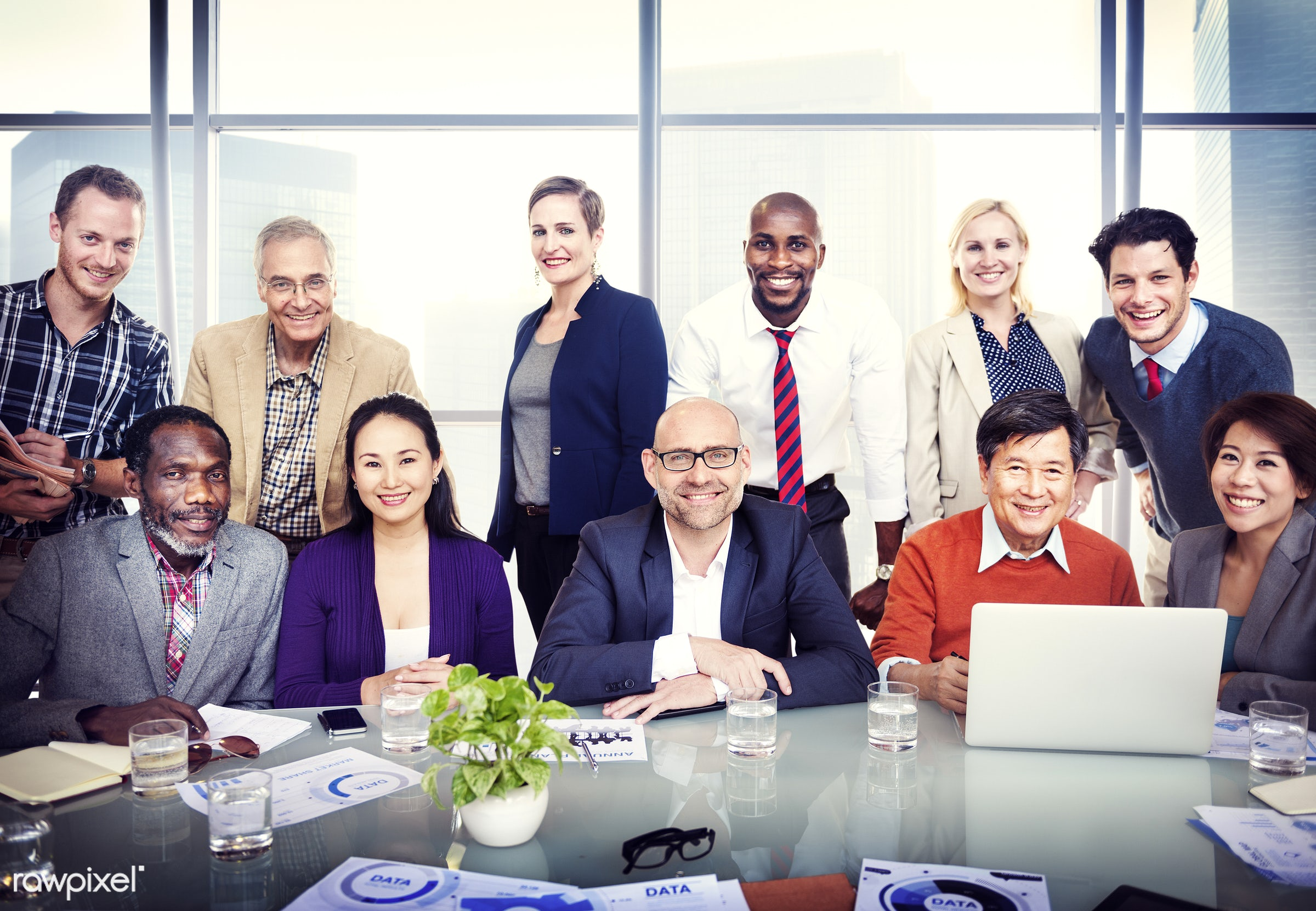 african, african descent, african ethnicity, asian, asian ethnicity, board room, building interior, cheerful, colleagues,...