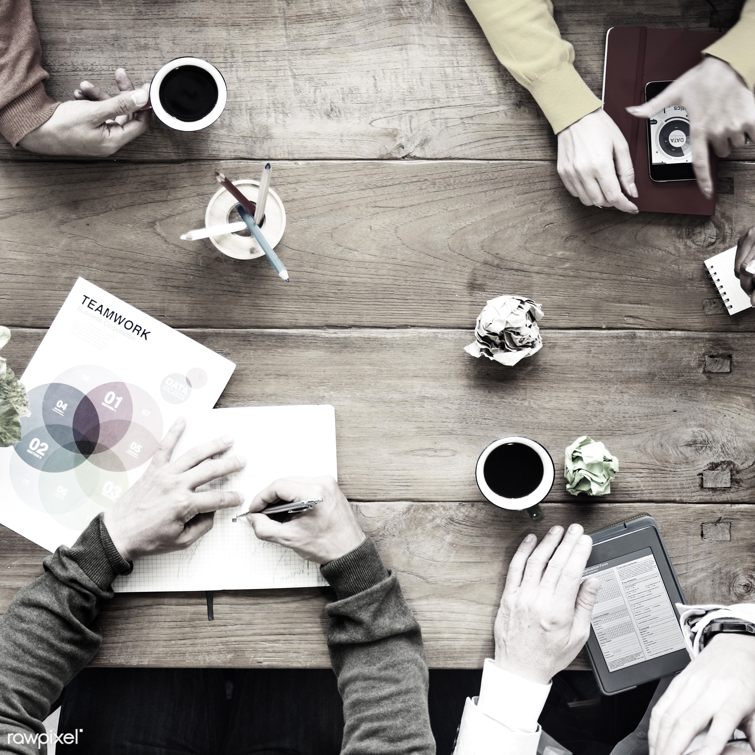 aerial view, african descent, asian ethnicity, brainstorming, business, business people, cafe, coffee, colorful,...