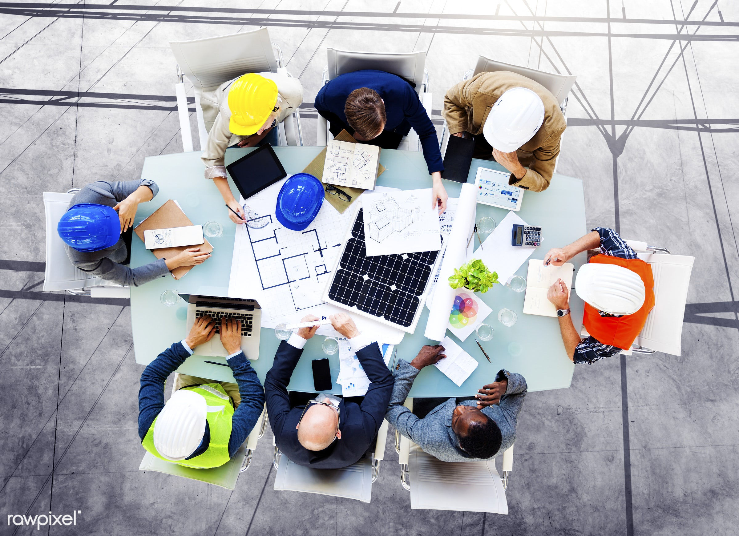 aerial view, african descent, analysis, architects, blueprints, brainstorming, business, business people, communication,...