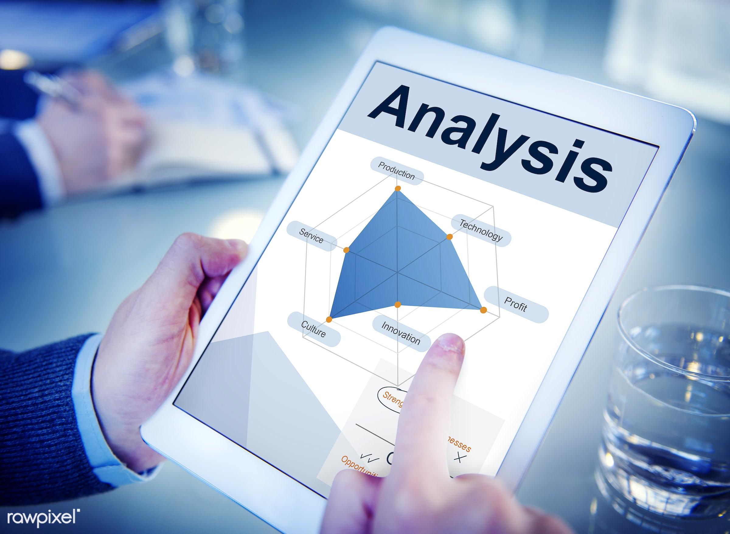 Analysis Innovation Opportunities Strengths Strategic - alone, analysis, business, businessman, closeup, data, device,...