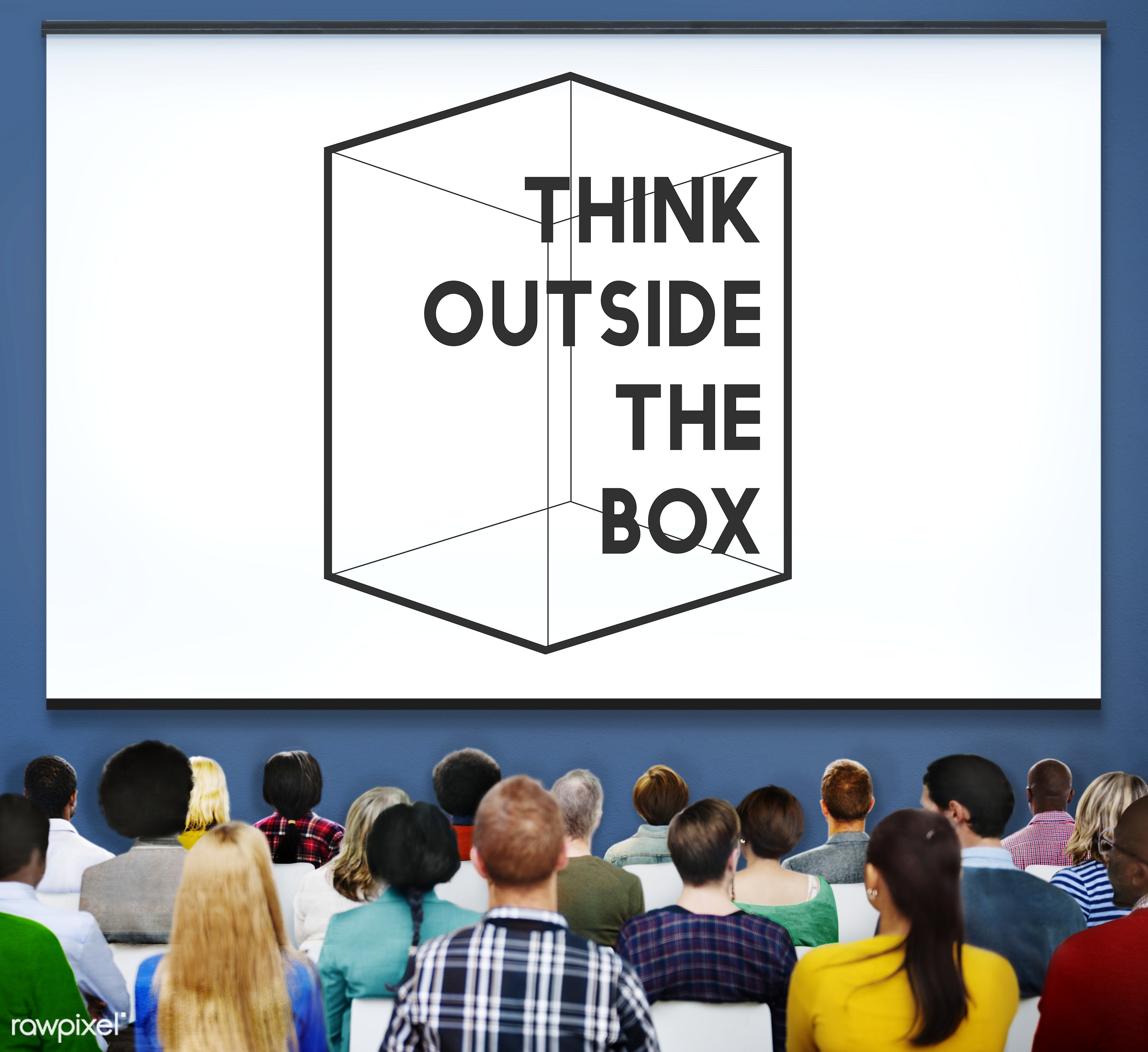 Thinking Out Of The Box Concept - african american, african descent, architecture, asian, black, caucasian, cheerful,...
