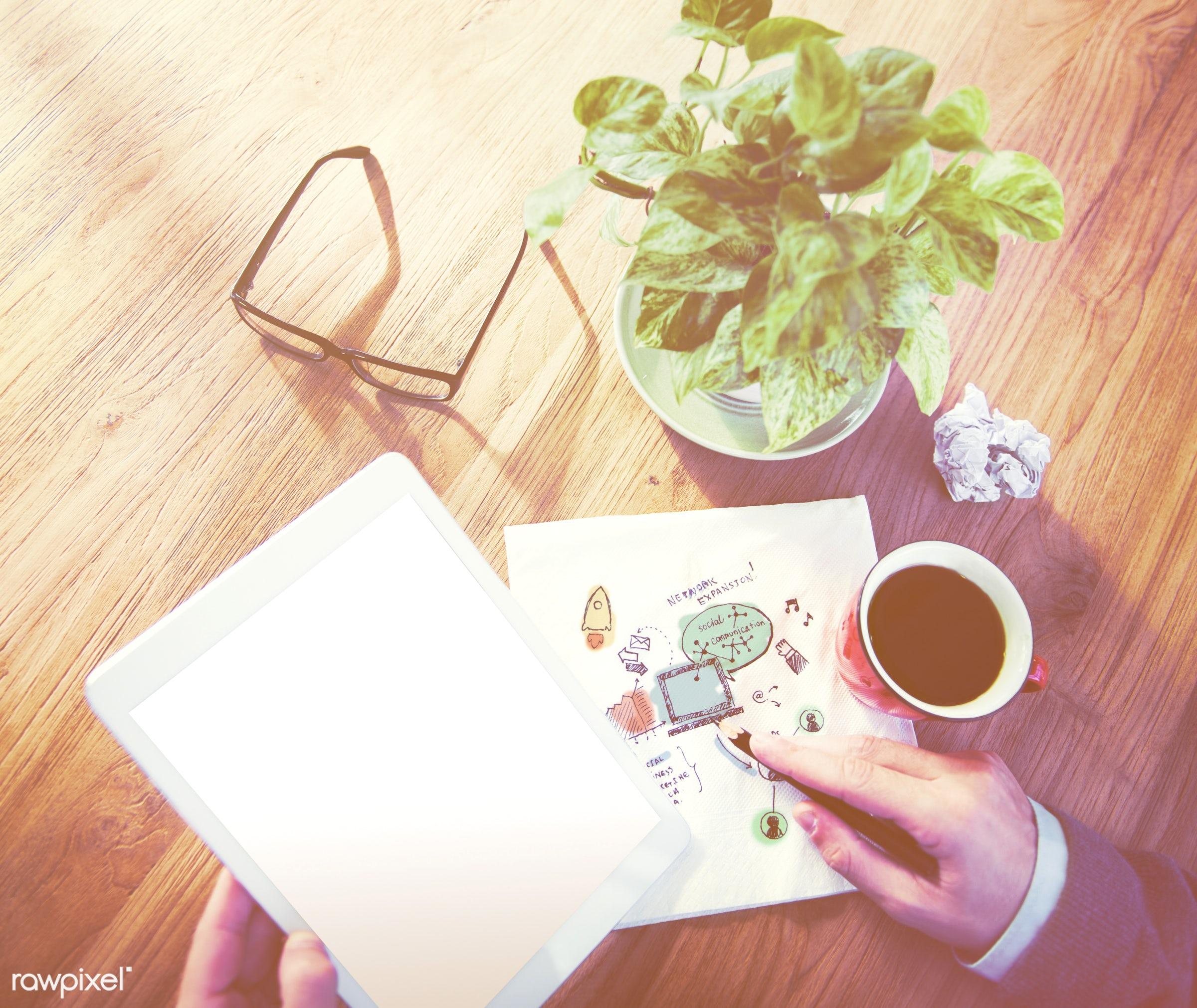 analysing, browsing, business, businessman, college, designer, desk, device, digital device, digital tablet, electronic...