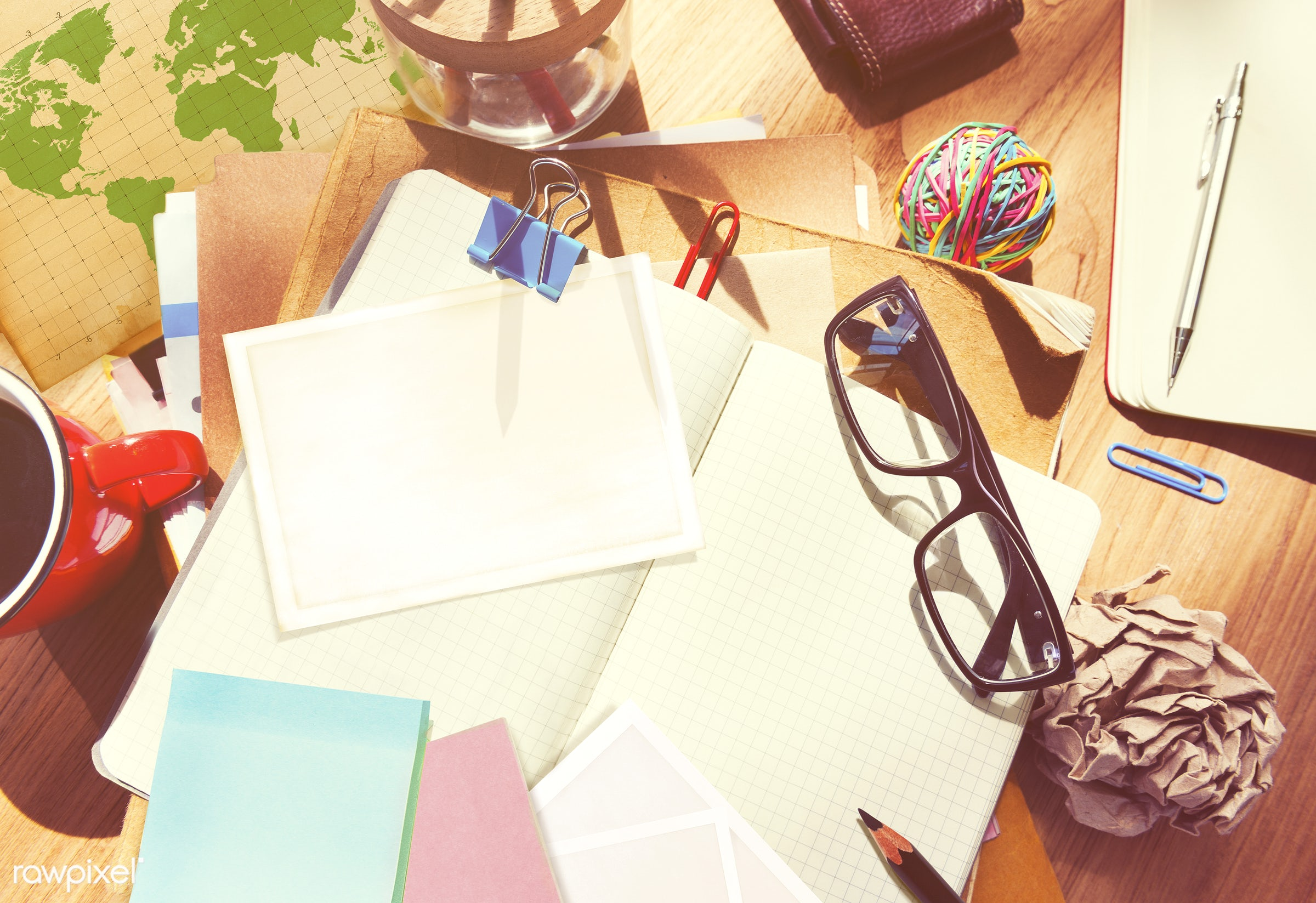adhesive note, coffee, desk, diary, education, glasses, group of objects, information medium, messy, note, note pad,...