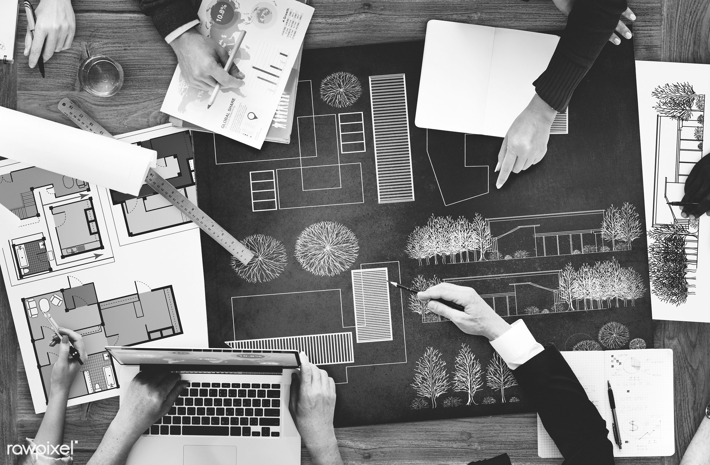 aerial view, architect, architecture, blueprint, brainstorming, business, business people, businessmen, businesswomen, busy...