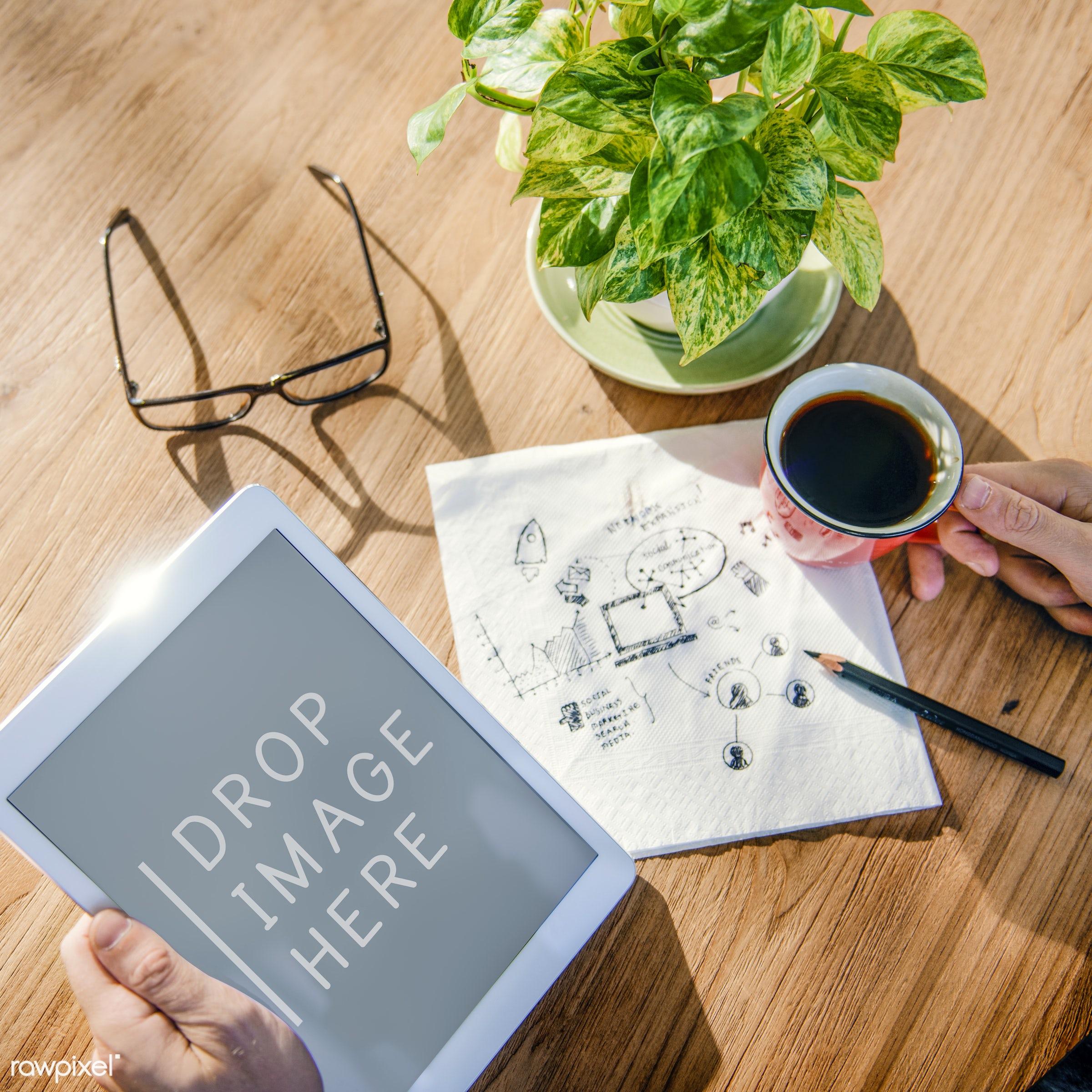 break, business, coffee, coffee break, connection, copy space, copyspace, development, digital tablet, drinks, drop image...