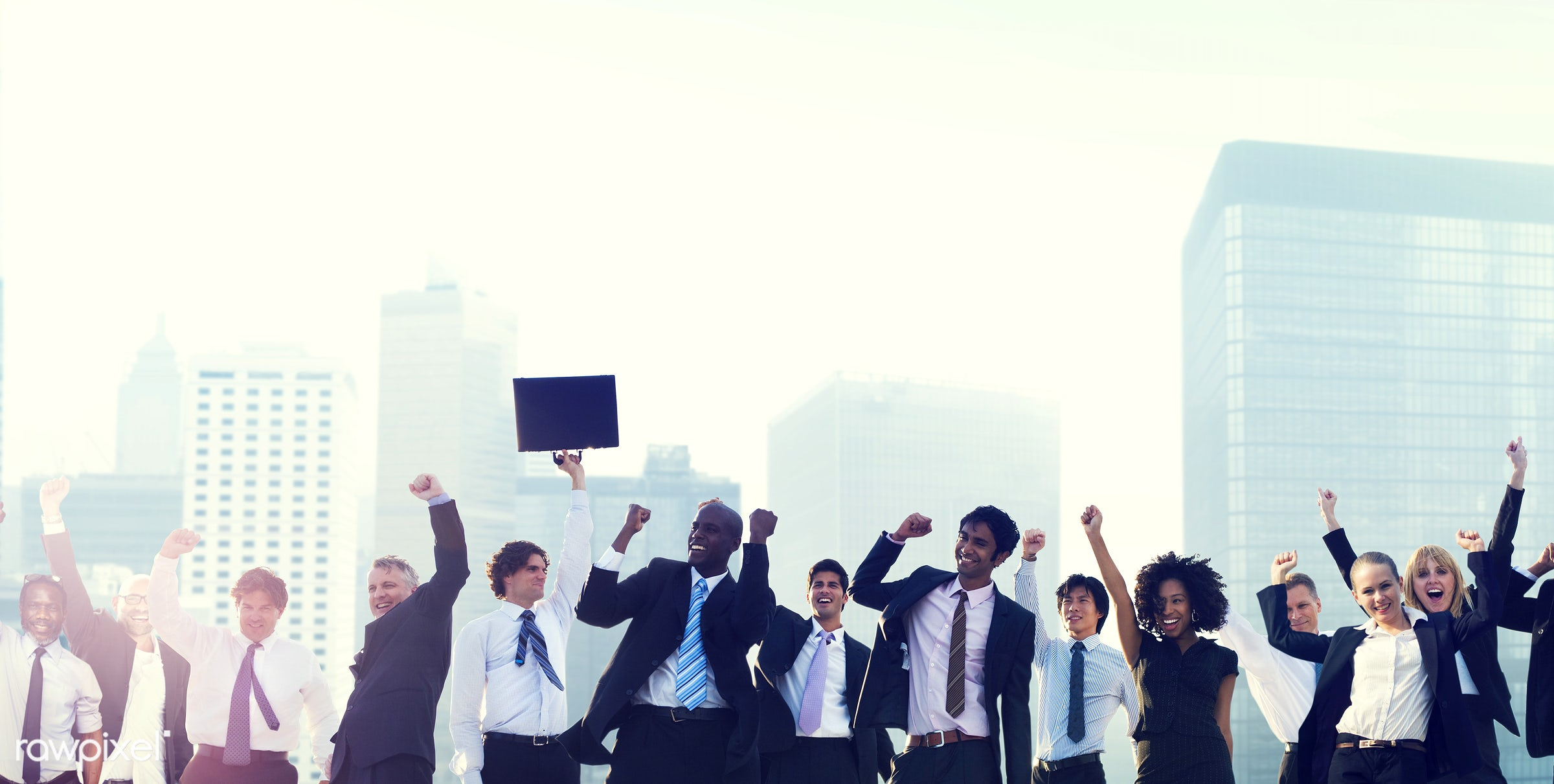 accomplishment, achievement, arms outstretched, arms raised, buildings, business, business people, businessmen,...
