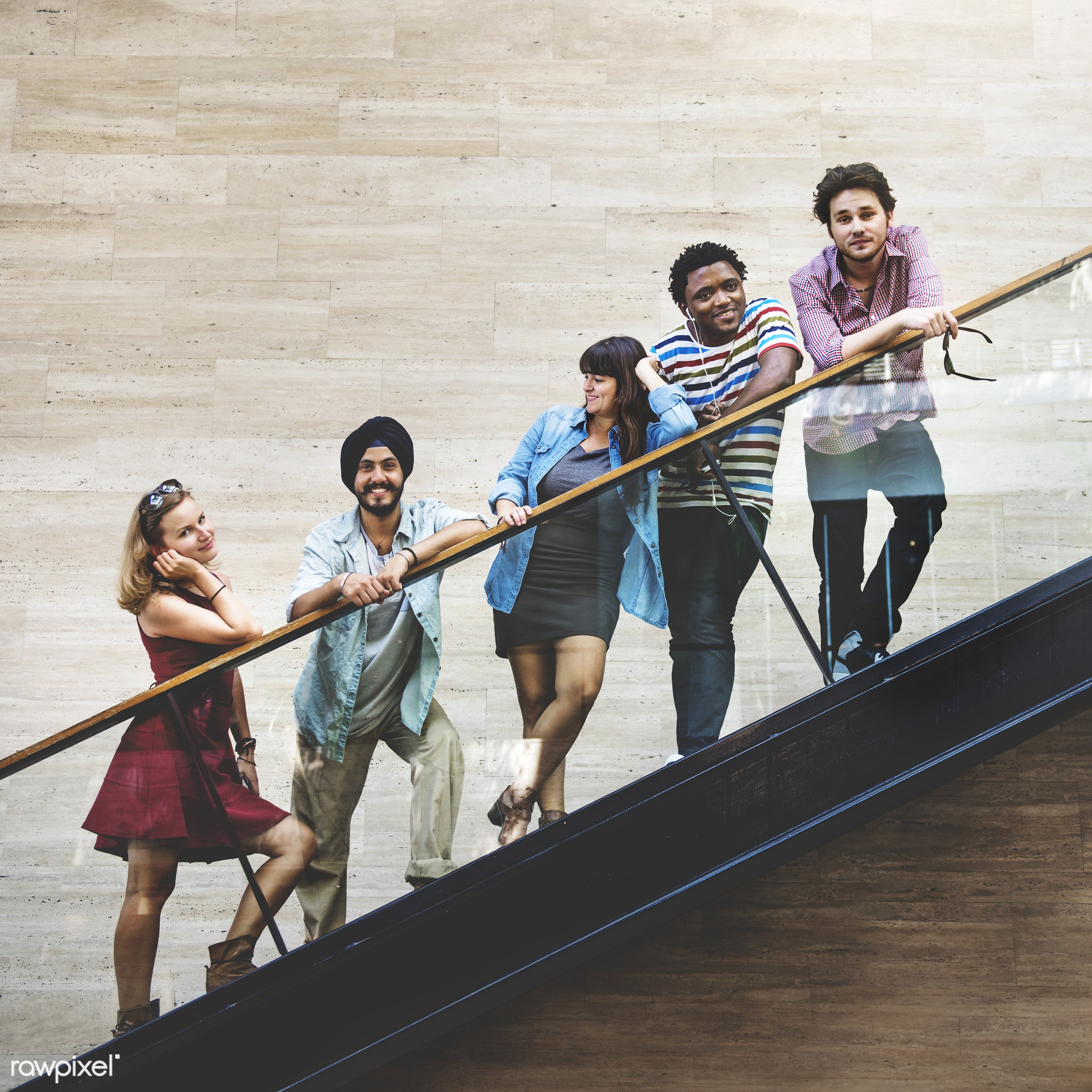 diverse, indian ethnicity, people, stairs, friends, casual, looking at camera, black, hipster, diversity, in a row, african...