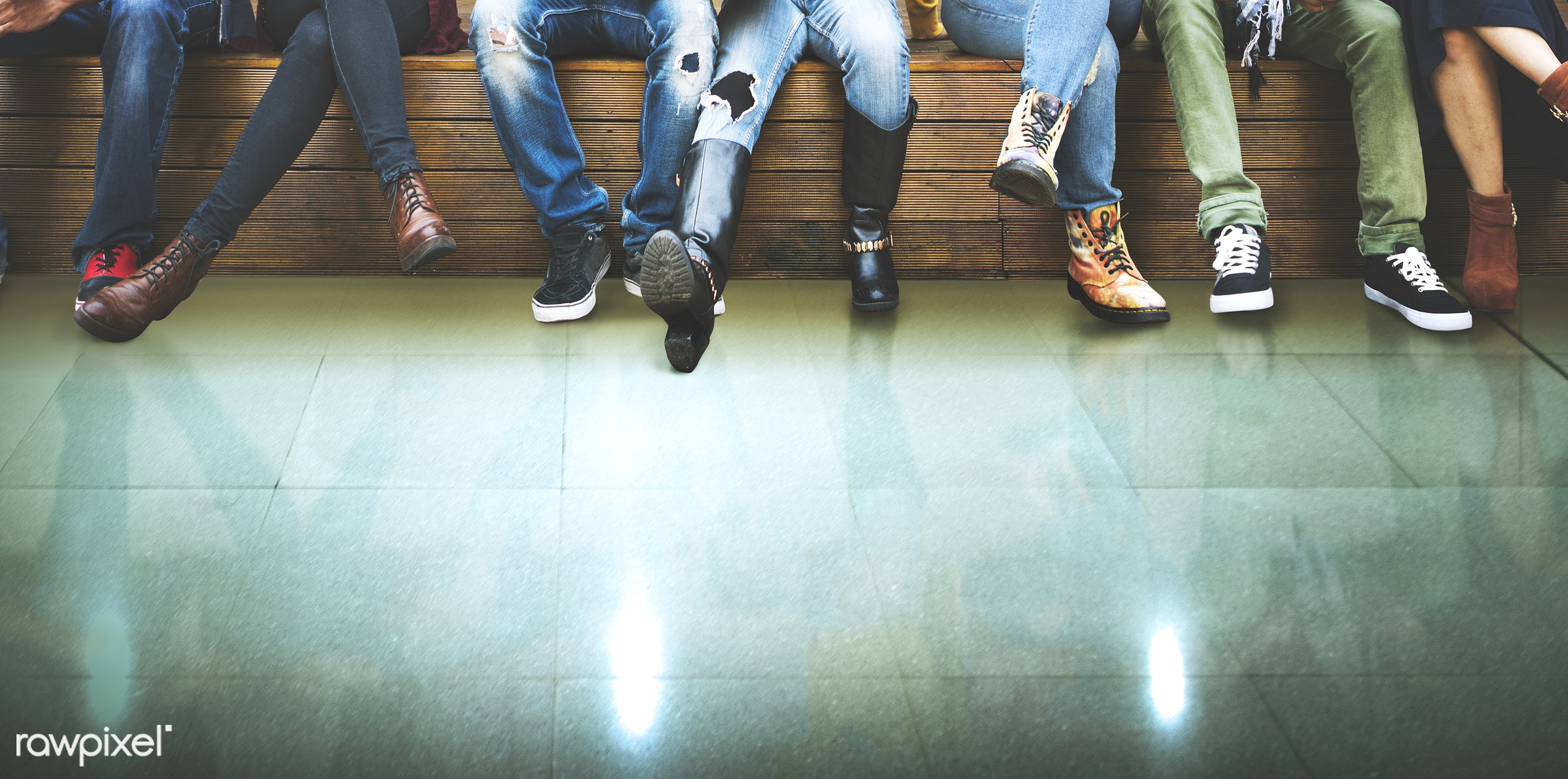 copy space, diverse, feet, team, together, green floor, design space, friends, sitting, floor, legs, group, closeup