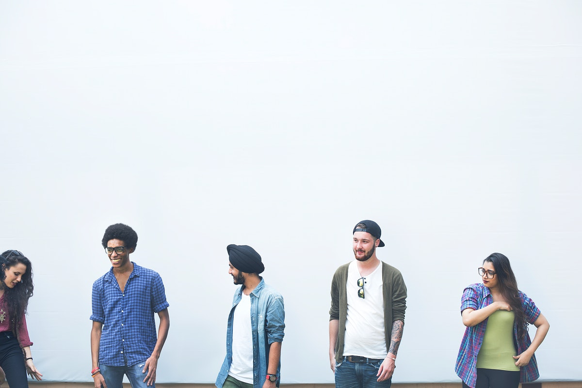 Group of diverse friends with white background