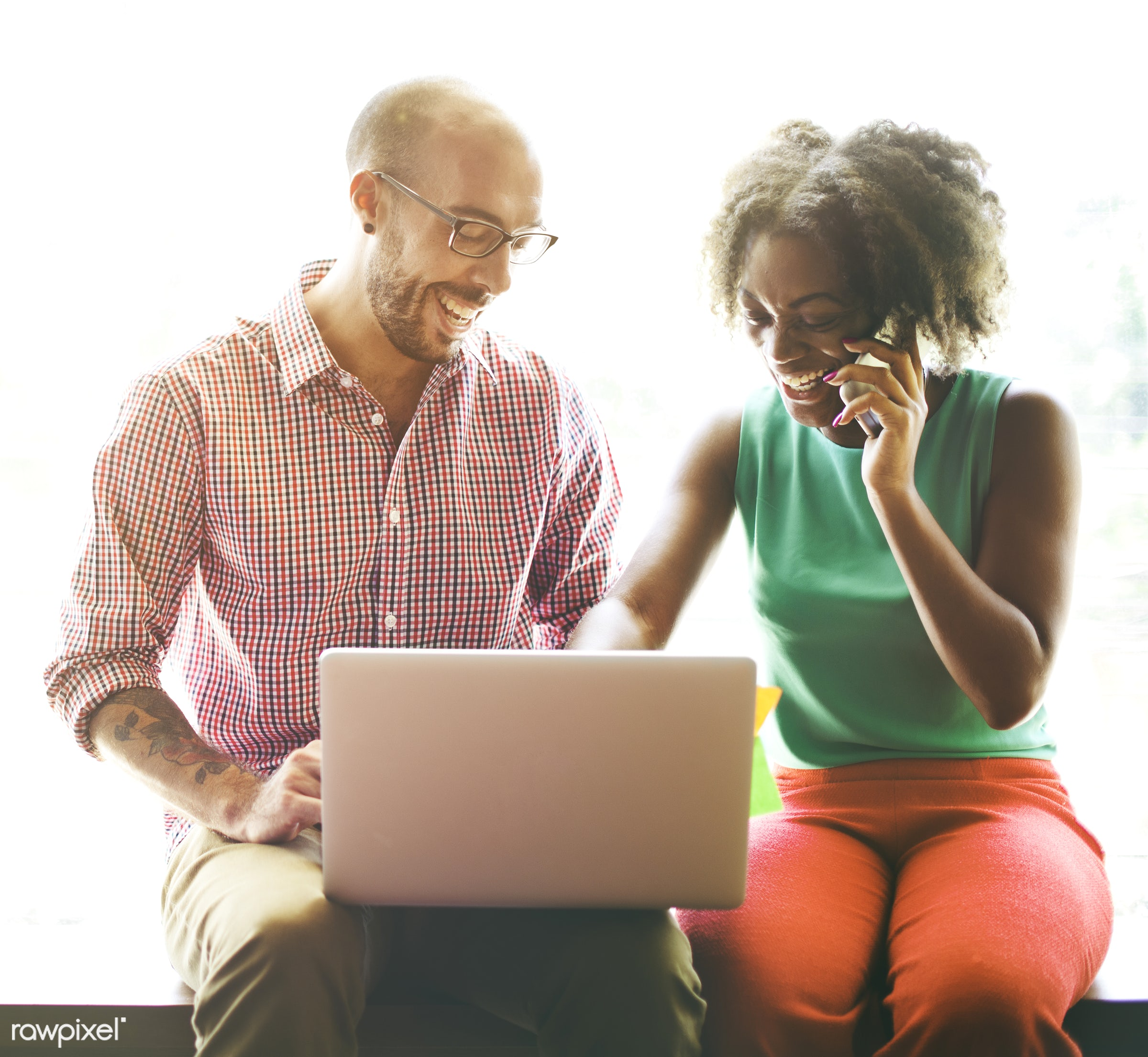 african descent, casual, cheerful, coffee break, communication, connection, correspondence, digital device, diversity, email...