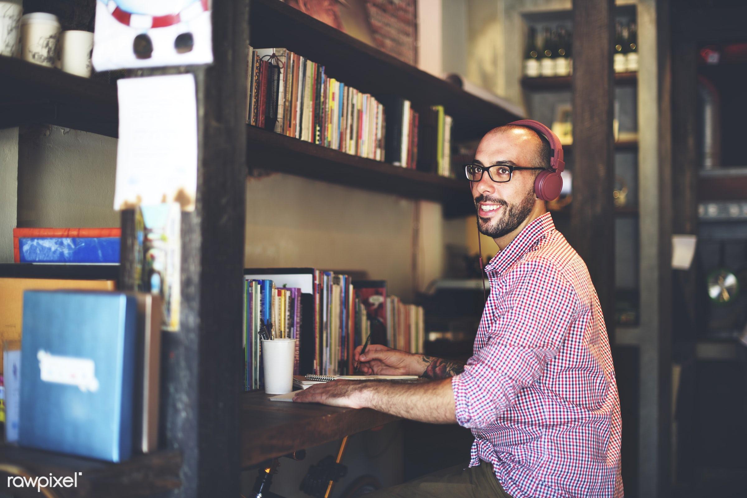 adult, browsing, cafe, casual, cheerful, coffee break, coffee shop, communication, connection, earphones, enjoying,...
