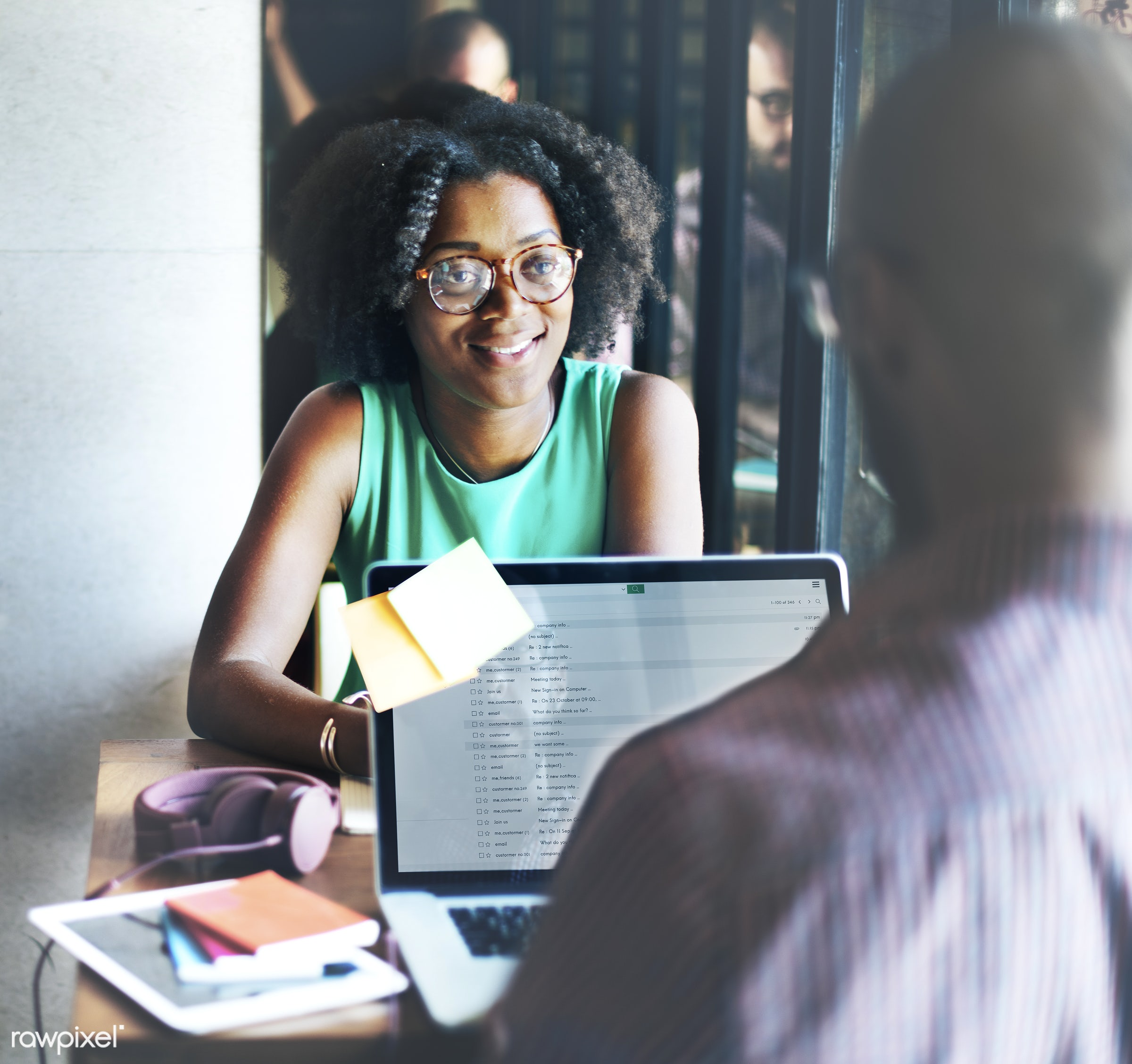 african, african descent, analysing, browsing, business, businessman, businesswoman, cafe, casual, cheerful, communication,...