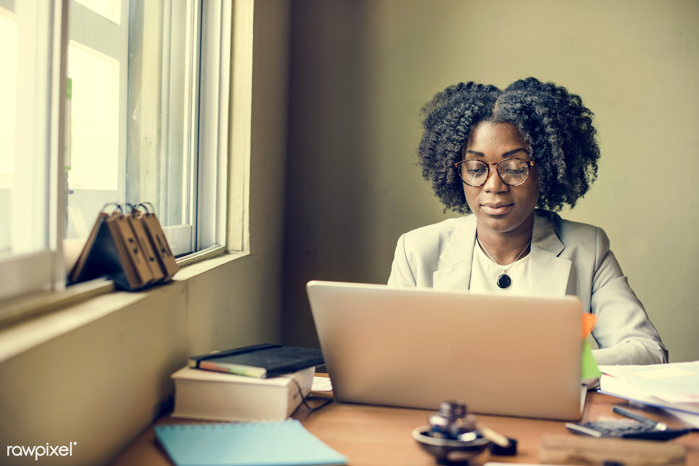 african, african descent, analysing, browsing, business, businesswoman, cafe, casual, cheerful, communication, computer,...