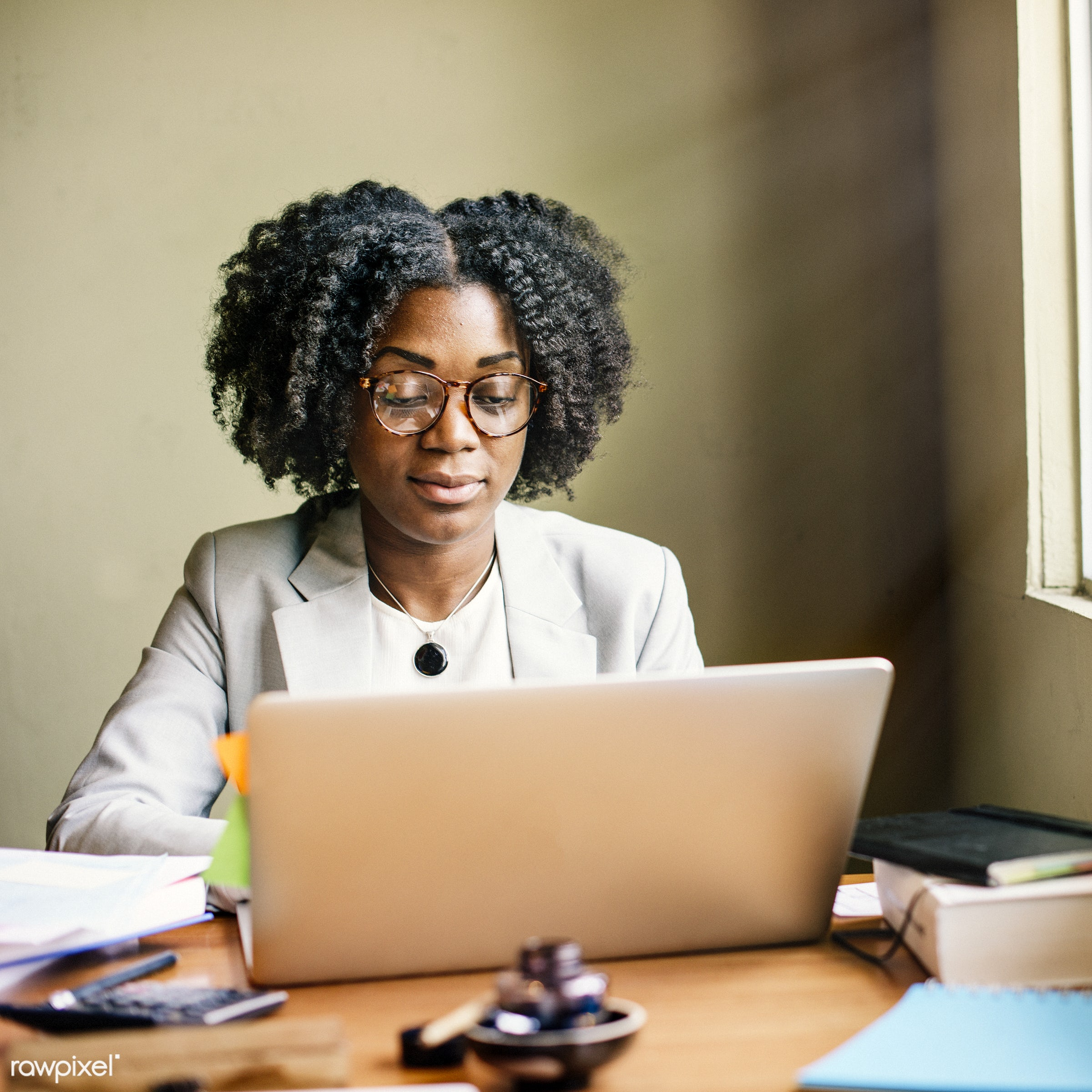 african, african descent, analysing, browsing, business, businesswoman, casual, cheerful, communication, computer,...