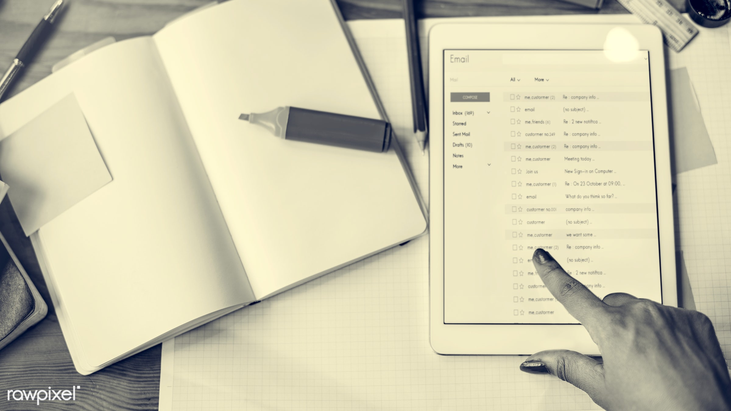 accounting, aerial view, analysis, correspondence, data, digital device, digital tablet, document, email, information,...